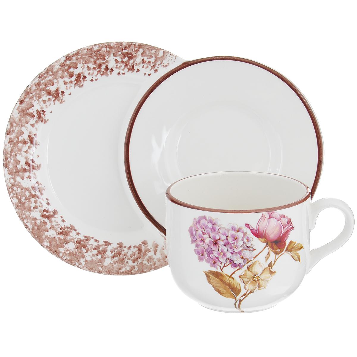 Чашка LCS Сады Флоренции, на подносе, 500 млLCS933TPN-BO-ALЧашка LCS Сады Флоренции изготовлена из высококачественной глазурованной керамики. Внешние стенки изделия оформлены красочным цветочным рисунком. Оригинальный поднос, выполненный в виде двух блюдец, украшен коричневым узором. Поднос очень функционален, так как на него можно поставить и кружку, и положить рядом кусочек торта, конфеты или любой другой десерт. Изящная чашка с подносом не только красиво оформит стол к чаепитию, но и станет прекрасным подарком друзьям и близким.