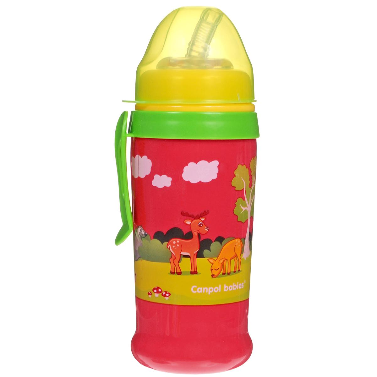 Поильник Canpol Babies, непроливающий, с силиконовым носиком-трубочкой, цвет: красный, желтый, зеленый, 350 мл