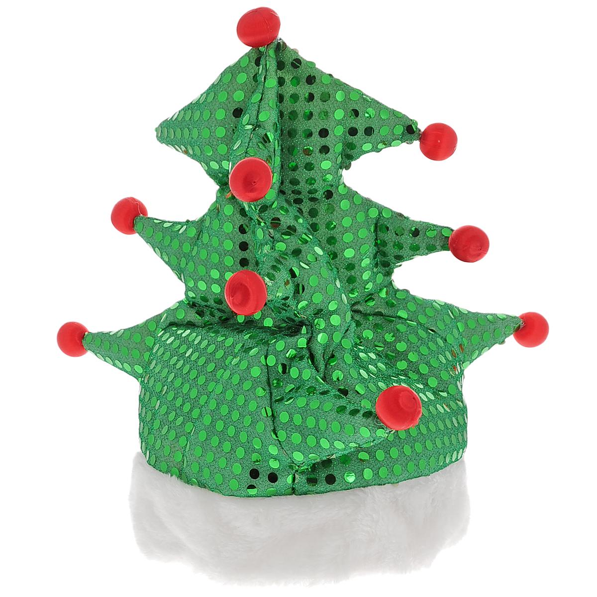 Маскарадная шляпа Елочка, цвет: зеленый. 3133931339Маскарадная шляпа Елочка, выполненная из хлопка и полиэстера, внесет нотку задора и веселья в праздник и станет завершающим штрихом в создании праздничного образа. Объемная блестящая шапка в форме новогодней елки украшена шариками. Карнавалы больше не требуют длительной подготовки. Приходите на костюмированный праздник или превратите любую вечернику в карнавал со шляпой Елочка. Этот яркий аксессуар создаст атмосферу веселья на детском и даже на взрослом празднике. Материал: полиэстер, хлопок. Обхват головы: 59 см - 60 см.