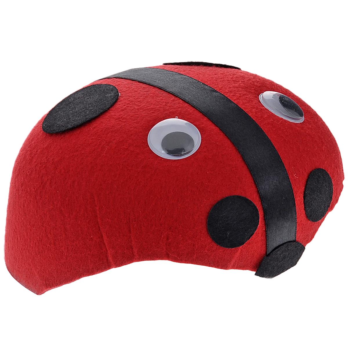 Маскарадная шляпа Божья коровка, цвет: красный, 53 см. 3131431314Маскарадная шляпа Божья коровка, выполненная из фетра, изготовлена в виде жучка с глазками. У вас намечается веселая вечеринка или маскарад? Маскарадная шляпа внесет нотку задора и веселья в праздник и станет завершающим штрихом в создании праздничного образа. Веселое настроение и масса положительных эмоций вам будут обеспечены! Материал: фетр. Обхват головы: 53 см. Размер шляпы: 17 см х 15,5 см х 7,5 см.