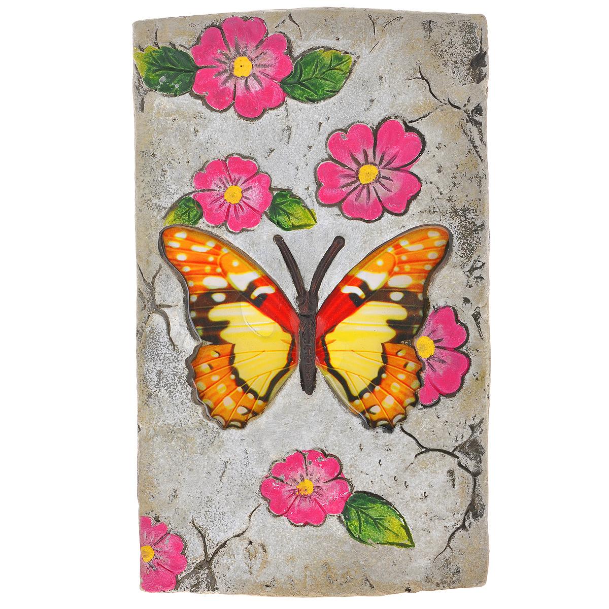 Декоративная фигурка Бабочка, 14 х 23,5 х 1,5 см28334Декоративная фигурка Бабочка прекрасно подойдет для украшения интерьера дома. Изделие выполнено из цемента и имеет шероховатую поверхность. Фигурка украшена изображением бабочки, крылья которой покрыты эмалью, и рельефом в виде розовых цветов. Изящная фигурка станет прекрасным подарком, который обязательно порадует получателя.