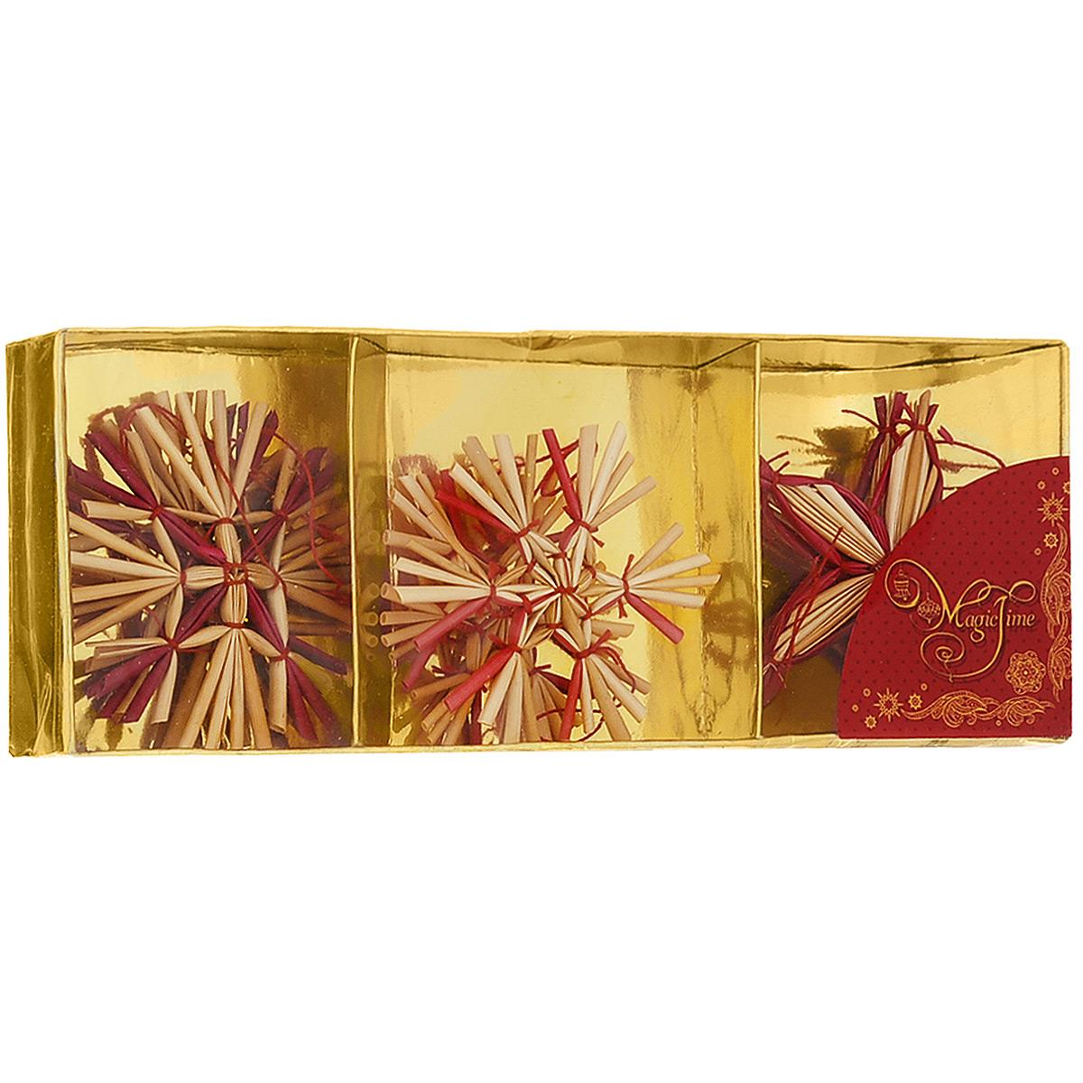Набор новогодних подвесных украшений Magic Time, цвет: бежевый, красный, 6 шт. 3468834688Набор новогодних подвесных украшений Magic Time, изготовленный из соломки, украсит интерьер вашего дома или офиса в преддверии Нового года. Оригинальный дизайн и красочное исполнение создадут праздничное настроение. Набор состоит из 6 фигурок в форме снежинок разных форм. Украшения отлично подойдут для декорации вашего дома и новогодней ели. Игрушки оснащены специальными петлями для подвешивания. Елочная игрушка - символ Нового года. Она несет в себе волшебство и красоту праздника. Создайте в своем доме атмосферу веселья и радости, украшая всей семьей новогоднюю елку нарядными игрушками, которые будут из года в год накапливать теплоту воспоминаний. Коллекция декоративных украшений из серии Magic Time принесет в ваш дом ни с чем не сравнимое ощущение волшебства!