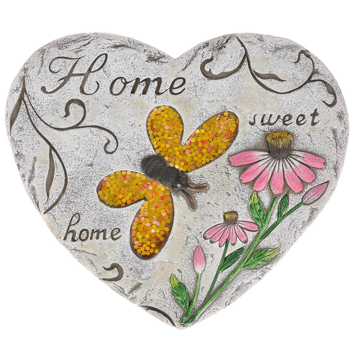 Декоративная фигурка Сердце, 26 х 23 х 1,5 см 2833328333Декоративная фигурка Сердце прекрасно подойдет для украшения интерьера дома. Изделие выполнено из цемента в виде сердца и имеет шероховатую поверхность. Фигурка декорирована изображением бабочки, крылья которой украшены желтыми блестками и покрыты эмалью, рельефом в виде розовых цветов и высеченной надписью Home sweet home. Изящная фигурка станет прекрасным подарком, который обязательно порадует получателя.