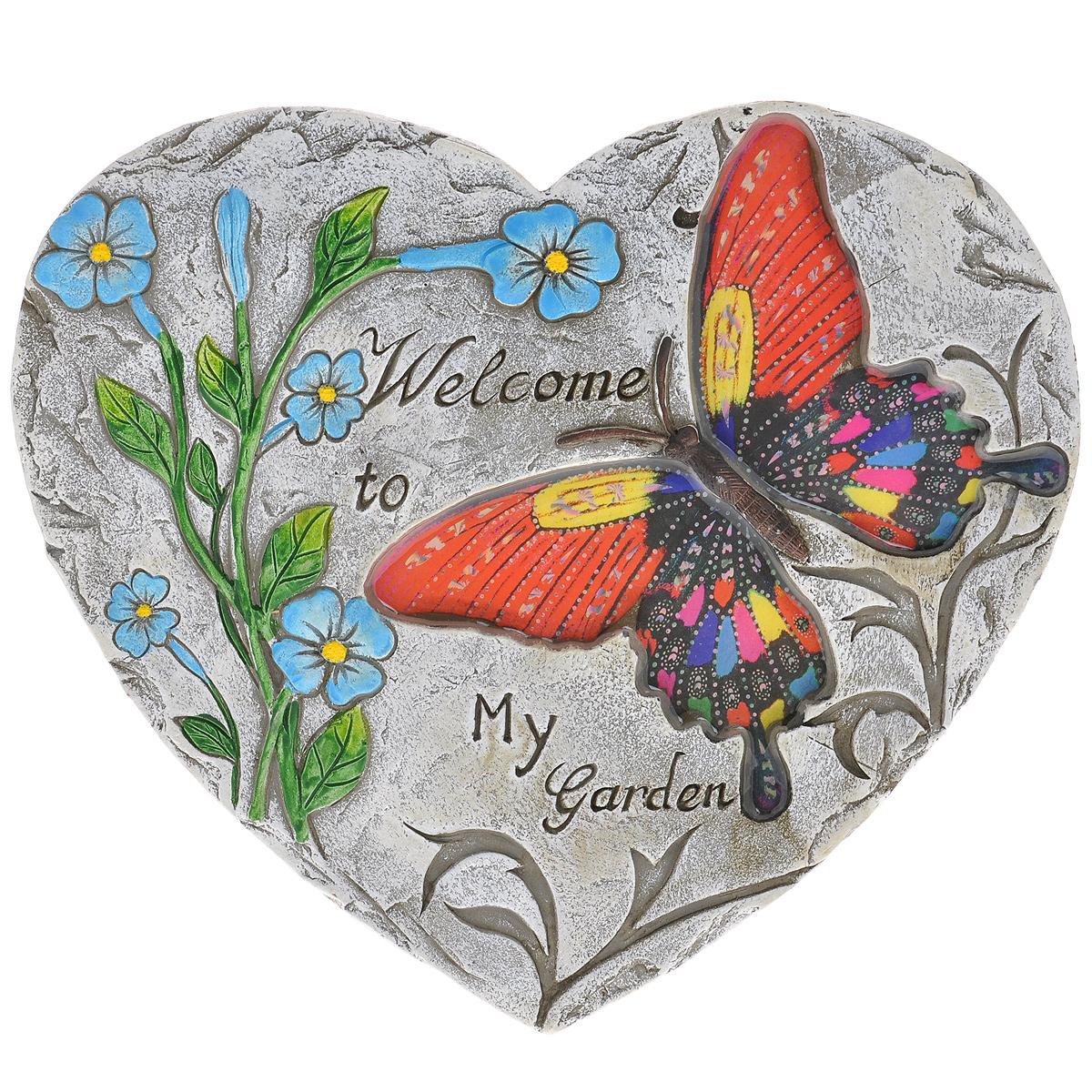 Декоративная фигурка Сердце, 26 х 23,5 х 2 см28331Декоративная фигурка Сердце прекрасно подойдет для украшения интерьера дома. Изделие выполнено из цемента в виде сердца и имеет шероховатую поверхность. Фигурка украшена изображением разноцветной бабочки, крылья которой покрыты эмалью, рельефом в виде голубых цветов и высеченной надписью Welcome to my garden. Изящная фигурка станет прекрасным подарком, который обязательно порадует получателя.