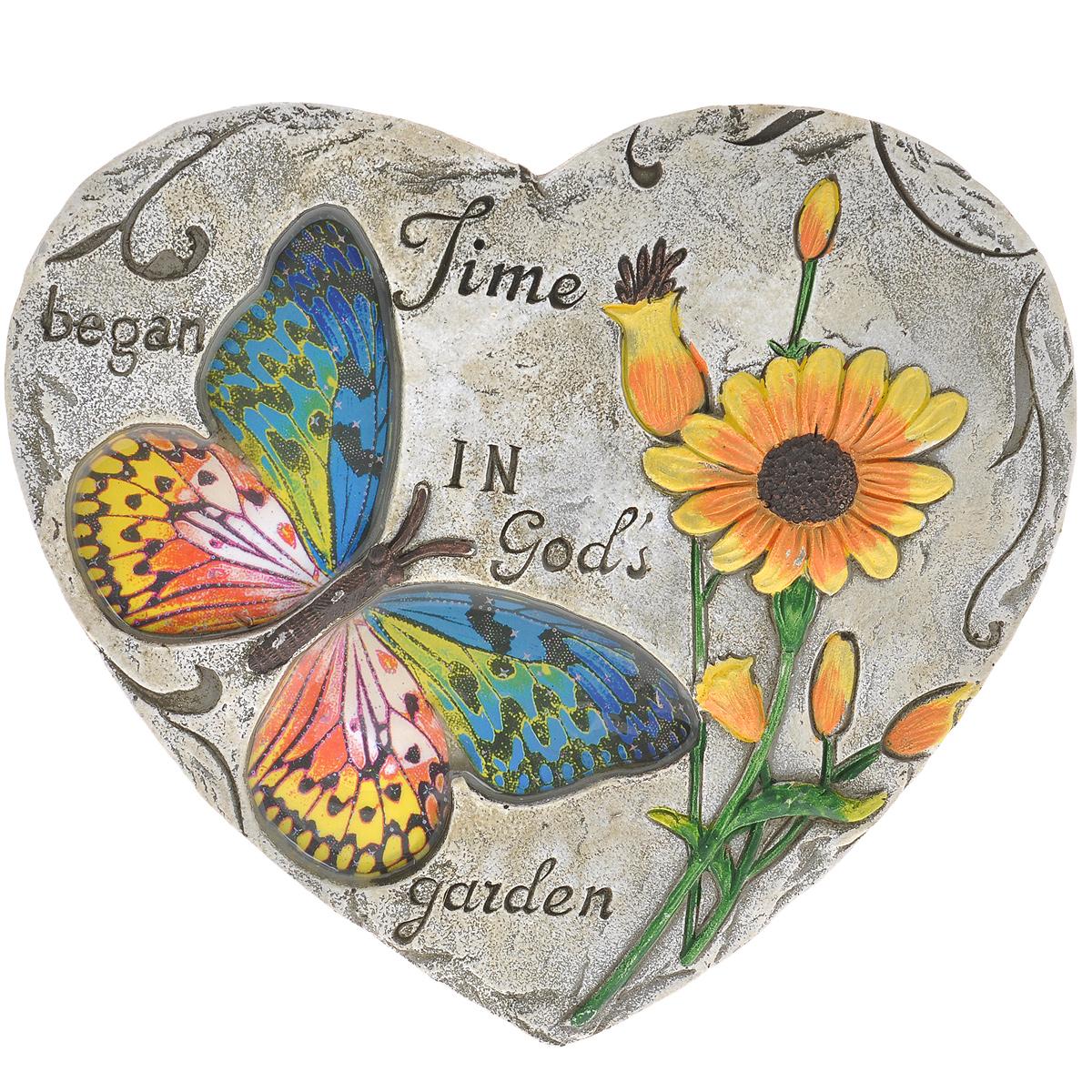 Декоративная фигурка Сердце, 25,5 см х 23 см х 2 см. 2833228332Декоративная фигурка Сердце прекрасно подойдет для украшения интерьера дома. Изделие выполнено из цемента в виде сердца и имеет шероховатую поверхность. Фигурка украшена изображением разноцветной бабочки, крылья которой покрыты эмалью, рельефом в виде подсолнухов и высеченной надписью Time began in Gods garden. Изящная фигурка станет прекрасным подарком, который обязательно порадует получателя.
