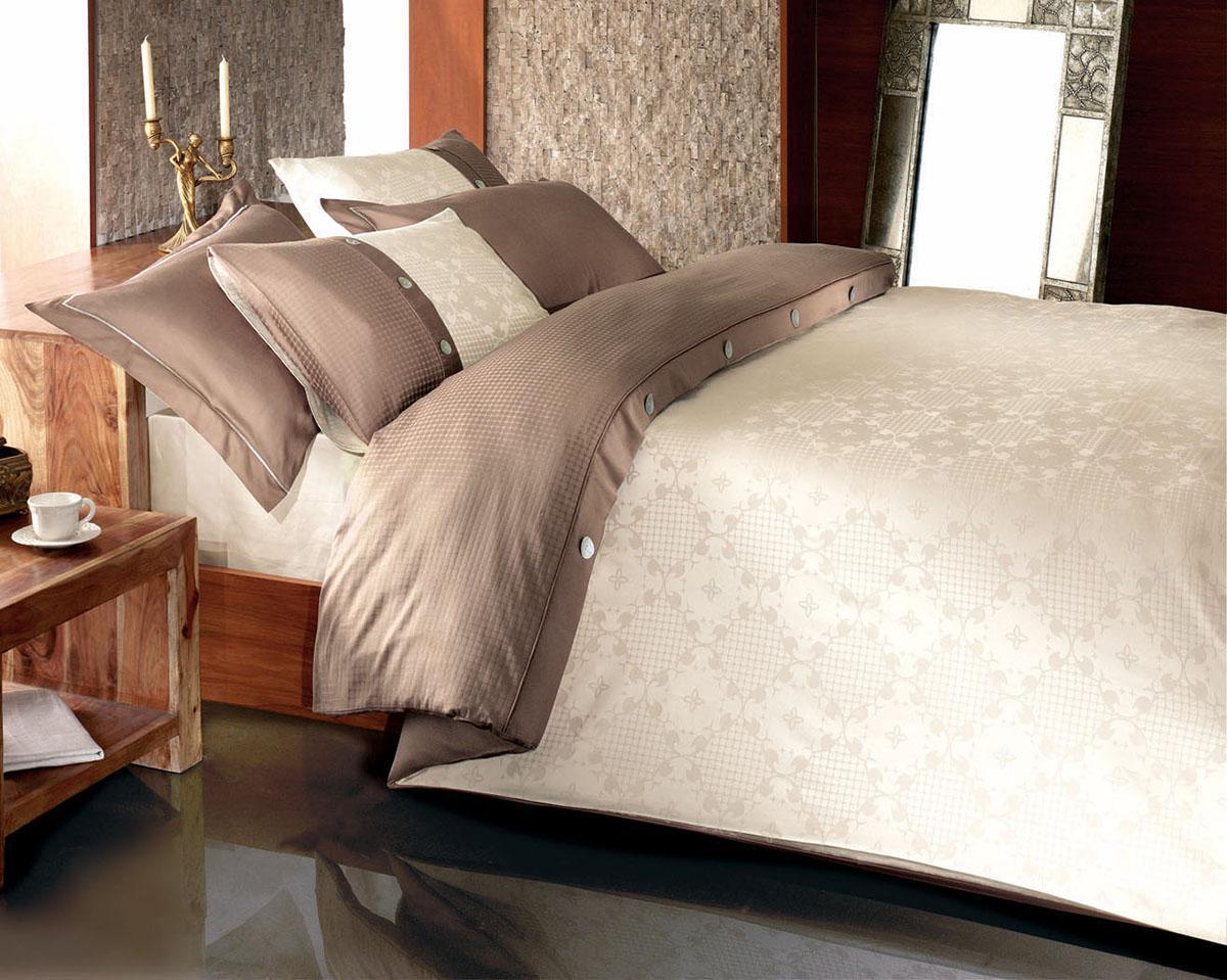 Комплект белья MASSIMO Brown/Коричневый, жаккард, 220 ТС, 50% бамбук, 50% хлопок, сем