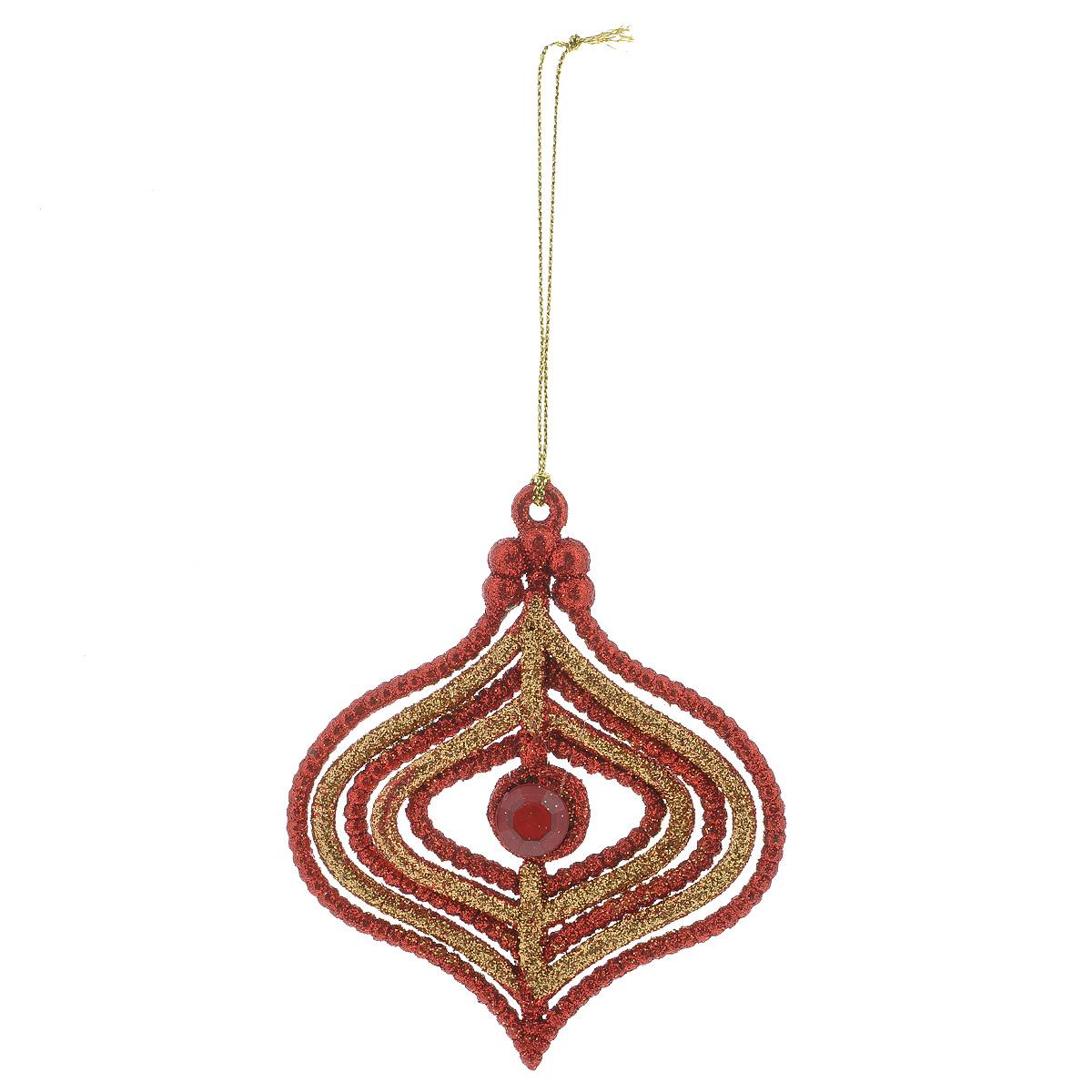 Новогоднее подвесное украшение Капля, цвет: красный, золотистый35010Оригинальное новогоднее украшение из пластика прекрасно подойдет для праздничного декора дома и новогодней ели. Изделие крепится на елку с помощью металлического зажима.