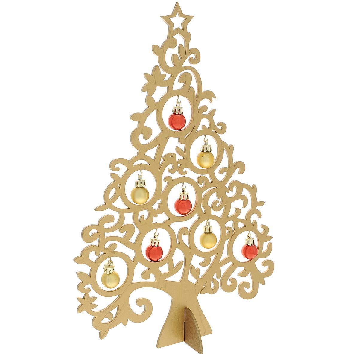 Новогодняя ель с игрушками Ажур, цвет: золотистый, 37 см. 3569535695Новогодняя ель с игрушками Ажур изготовлена из древесины тополя. В комплект к ели прилагаются пластиковые шарики, а также подставка. Красивое новогоднее украшение будет готово, стоит подвесить игрушки на елку. Новогодняя игрушка - символ Нового года. Она несет в себе волшебство и красоту праздника. Создайте в своем доме атмосферу веселья и радости, украшая новогоднюю елку нарядными игрушками, которые будут из года в год накапливать теплоту воспоминаний. Коллекция декоративных украшений принесет в ваш дом ни с чем несравнимое ощущение волшебства! Откройте для себя удивительный мир сказок и грез. Почувствуйте волшебные минуты ожидания праздника, создайте новогоднее настроение вашим дорогим и близким.