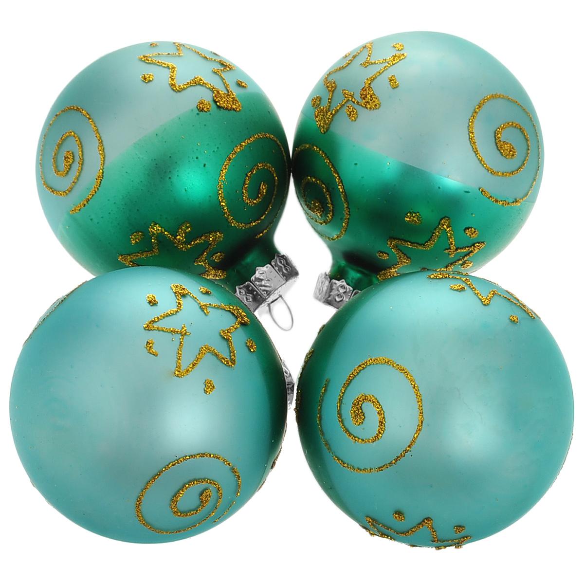 Набор новогодних подвесных украшений Шар, цвет: зеленый, золотистый, диаметр 6 см, 4 шт. 3450234502Набор новогодних подвесных украшений Шар прекрасно подойдет для праздничного декора новогодней ели. Состоит из четырех шаров. Елочная игрушка - символ Нового года. Она несет в себе волшебство и красоту праздника. Создайте в своем доме атмосферу веселья и радости, украшая новогоднюю елку нарядными игрушками, которые будут из года в год накапливать теплоту воспоминаний. Коллекция декоративных украшений принесет в ваш дом ни с чем несравнимое ощущение волшебства! Откройте для себя удивительный мир сказок и грез. Почувствуйте волшебные минуты ожидания праздника, создайте новогоднее настроение вашим дорогим и близким.