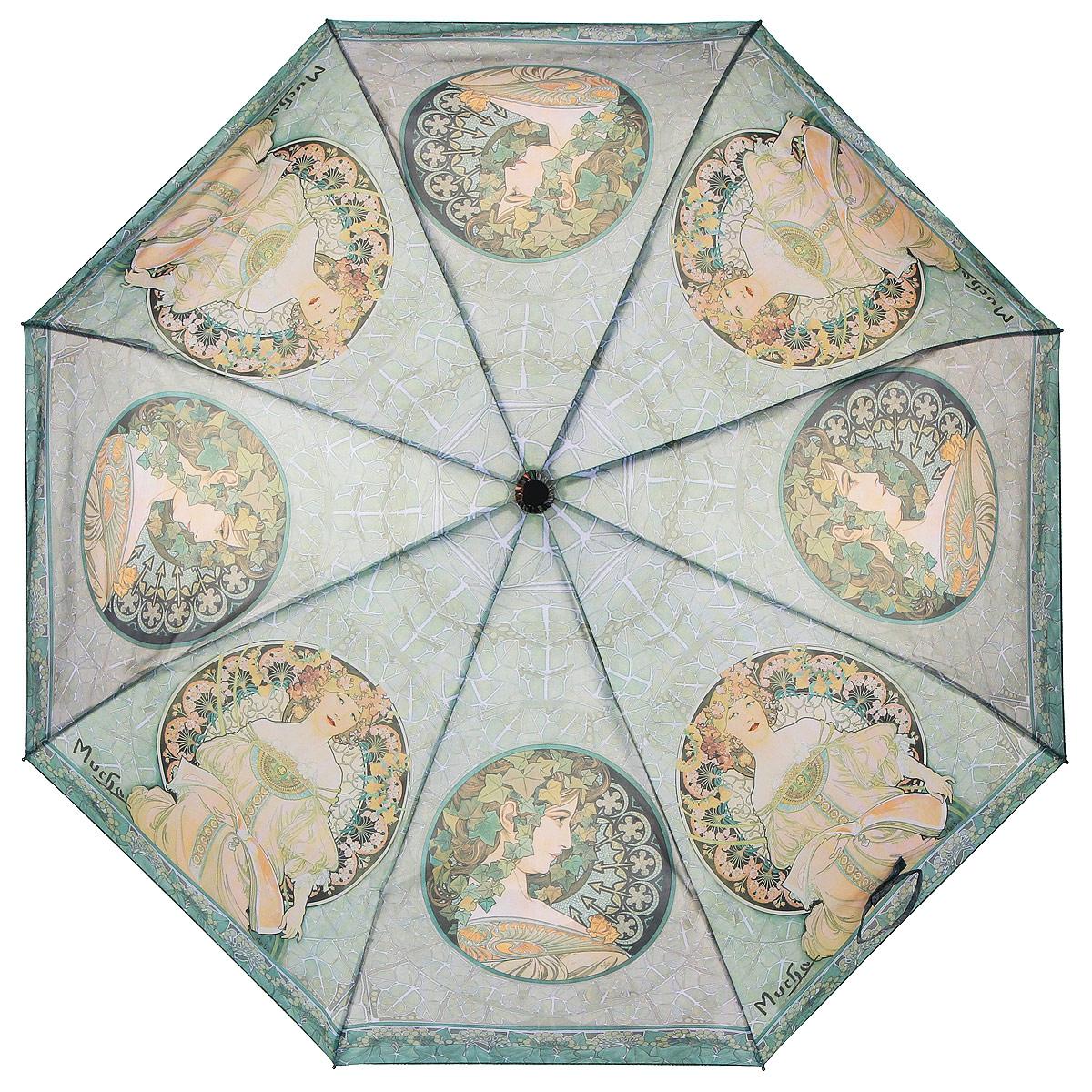 Зонт Задумчивость, автомат, 3 сложения. 1038-291038-29Стильный автоматический зонт Задумчивость поднимет настроение в ненастную погоду. Каркас зонта состоит из стержня и 8 спиц, выполненных из металла. Купол зонта, изготовленный из полиэстера с водоотталкивающей пропиткой, оформлен изображением девушек и цветов в стиле арт-нуво по мотивам картин Альфонса Мухи. Зонт оснащен удобной рукояткой из прорезиненного пластика с текстильным шнурком. Зонт имеет полный автоматический механизм сложения: купол открывается и закрывается нажатием кнопки на рукоятке, стержень складывается вручную до характерного щелчка. Такой зонт не только надежно защитит вас от дождя, но и станет стильным аксессуаром, который выделит вас из толпы. К зонту прилагается чехол. Длина стержня (в раскрытом виде): 53 см.