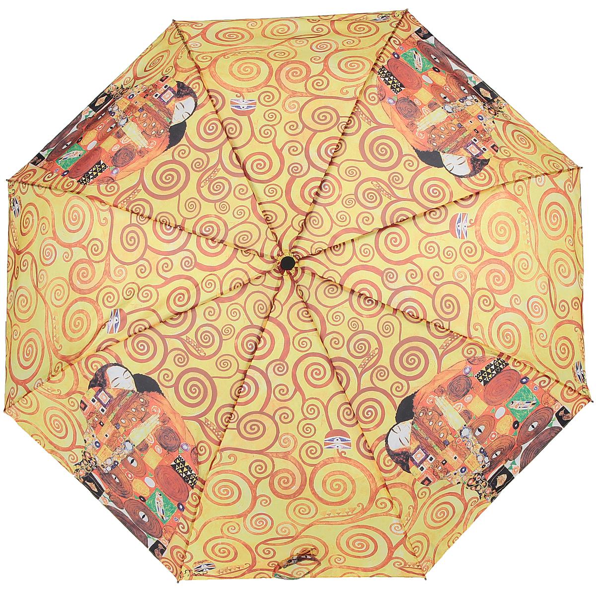 Зонт Объятия, автомат, 3 сложения. 1038-251038-25Стильный автоматический зонт Объятия поднимет настроение в ненастную погоду. Каркас зонта состоит из стержня и 8 спиц, выполненных из металла. Удобная рукоятка из прорезиненного пластика оснащена текстильным шнурком. Купол зонта, изготовленный из полиэстера с водоотталкивающей пропиткой, оформлен красочным изображением по мотивам картины Густава Климта Объятия. Зонт имеет полный автоматический механизм сложения: купол открывается и закрывается нажатием кнопки на рукоятке, стержень складывается вручную до характерного щелчка. Такой зонт не только надежно защитит вас от дождя, но и станет стильным аксессуаром, который выделит вас из толпы. К зонту прилагается чехол. Длина стержня (в раскрытом виде): 53 см.