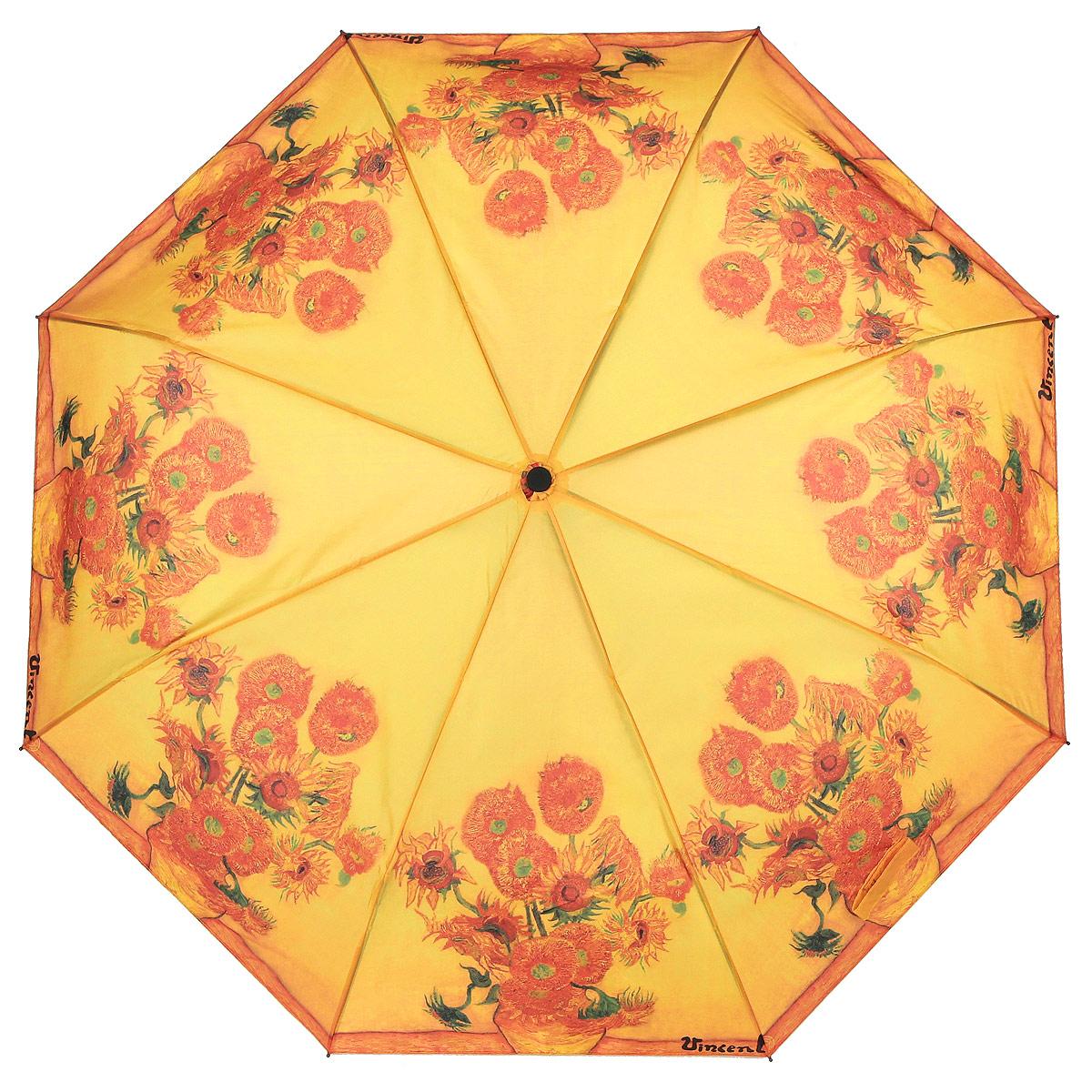 Зонт Подсолнухи, автомат, 3 сложения. 1038-261038-26Стильный автоматический зонт Подсолнухи поднимет настроение в ненастную погоду. Каркас зонта состоит из стержня и 8 спиц, выполненных из металла. Купол зонта, изготовленный из полиэстера с водоотталкивающей пропиткой, оформлен красочным изображением по мотивам картины Винсента Ван Гога Подсолнухи. Зонт оснащен удобной рукояткой из прорезиненного пластика с текстильным шнурком. Зонт имеет полный автоматический механизм сложения: купол открывается и закрывается нажатием кнопки на рукоятке, стержень складывается вручную до характерного щелчка. Такой зонт не только надежно защитит вас от дождя, но и станет стильным аксессуаром, который выделит вас из толпы. К зонту прилагается чехол. Длина стержня (в раскрытом виде): 53 см.