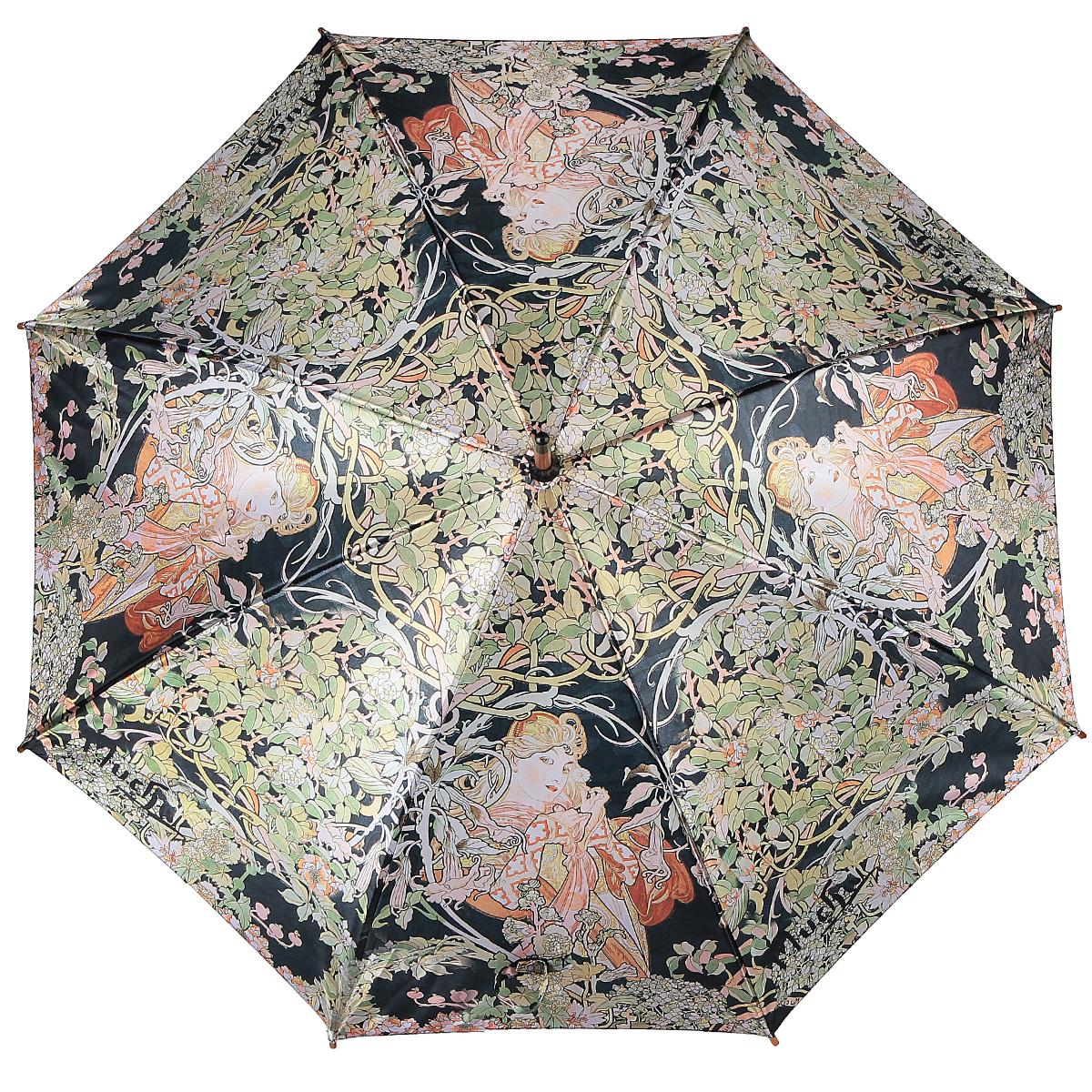 Зонт-трость Девушка и цветы, полуавтомат. 1001-301001-30Стильный полуавтоматический зонт-трость Девушка и цветы поднимет настроение даже в ненастную погоду. Каркас зонта состоит из деревянного стержня и 8 металлических спиц черного цвета. Купол зонта, изготовленный из сатина с водоотталкивающей пропиткой, оформлен изображением девушки и цветов в стиле арт-нуво по мотивам картин Альфонса Мухи. Зонт оснащен удобной закругленной рукояткой. Кончики спиц защищены деревянными насадками. Зонт имеет полуавтоматический механизм сложения: купол открывается нажатием кнопки на рукоятке, а закрывается вручную до характерного щелчка. Такой зонт не только надежно защитит вас от дождя, но и станет стильным аксессуаром.