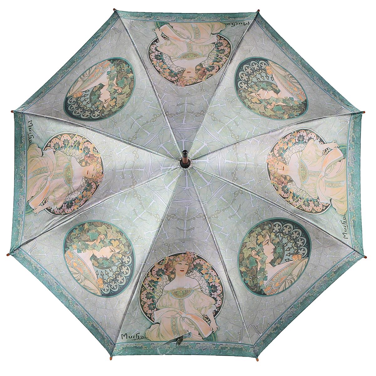 Зонт-трость Задумчивость, полуавтомат. 1001-291001-29Стильный полуавтоматический зонт-трость Задумчивость поднимет настроение даже в ненастную погоду. Каркас зонта состоит из деревянного стержня и 8 металлических спиц черного цвета. Купол зонта, изготовленный из сатина с водоотталкивающей пропиткой, оформлен изображением девушек и цветов в стиле арт-нуво по мотивам картин Альфонса Мухи. Зонт оснащен удобной закругленной рукояткой. Кончики спиц защищены деревянными насадками. Зонт имеет полуавтоматический механизм сложения: купол открывается нажатием кнопки на рукоятке, а закрывается вручную до характерного щелчка. Такой зонт не только надежно защитит вас от дождя, но и станет стильным аксессуаром.