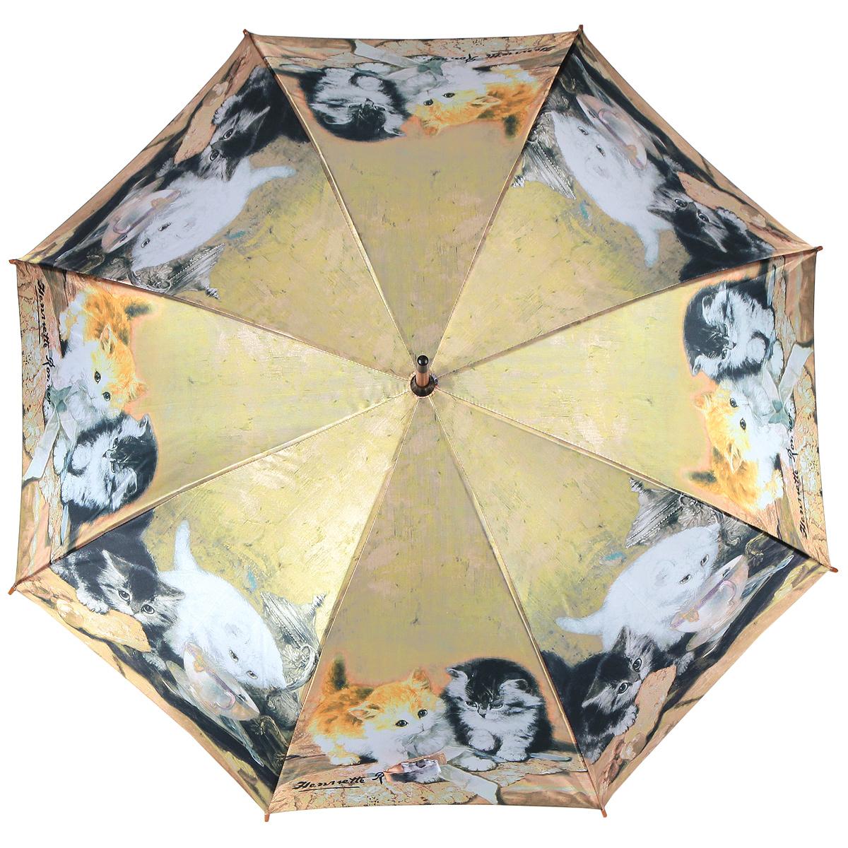 Зонт-трость Котята, полуавтомат. 1001-111001-11Стильный полуавтоматический зонт-трость Котята поднимет настроение даже в ненастную погоду. Каркас зонта состоит из деревянного стержня и 8 металлических спиц черного цвета. Купол зонта, изготовленный из сатина с водоотталкивающей пропиткой, оформлен красочным изображением котят по мотивам картин голландской художницы Генриетты Роннер-Книп. Зонт оснащен удобной закругленной рукояткой. Кончики спиц защищены деревянными насадками. Зонт имеет полуавтоматический механизм сложения: купол открывается нажатием кнопки на рукоятке, а закрывается вручную до характерного щелчка. Такой зонт не только надежно защитит вас от дождя, но и станет стильным аксессуаром.