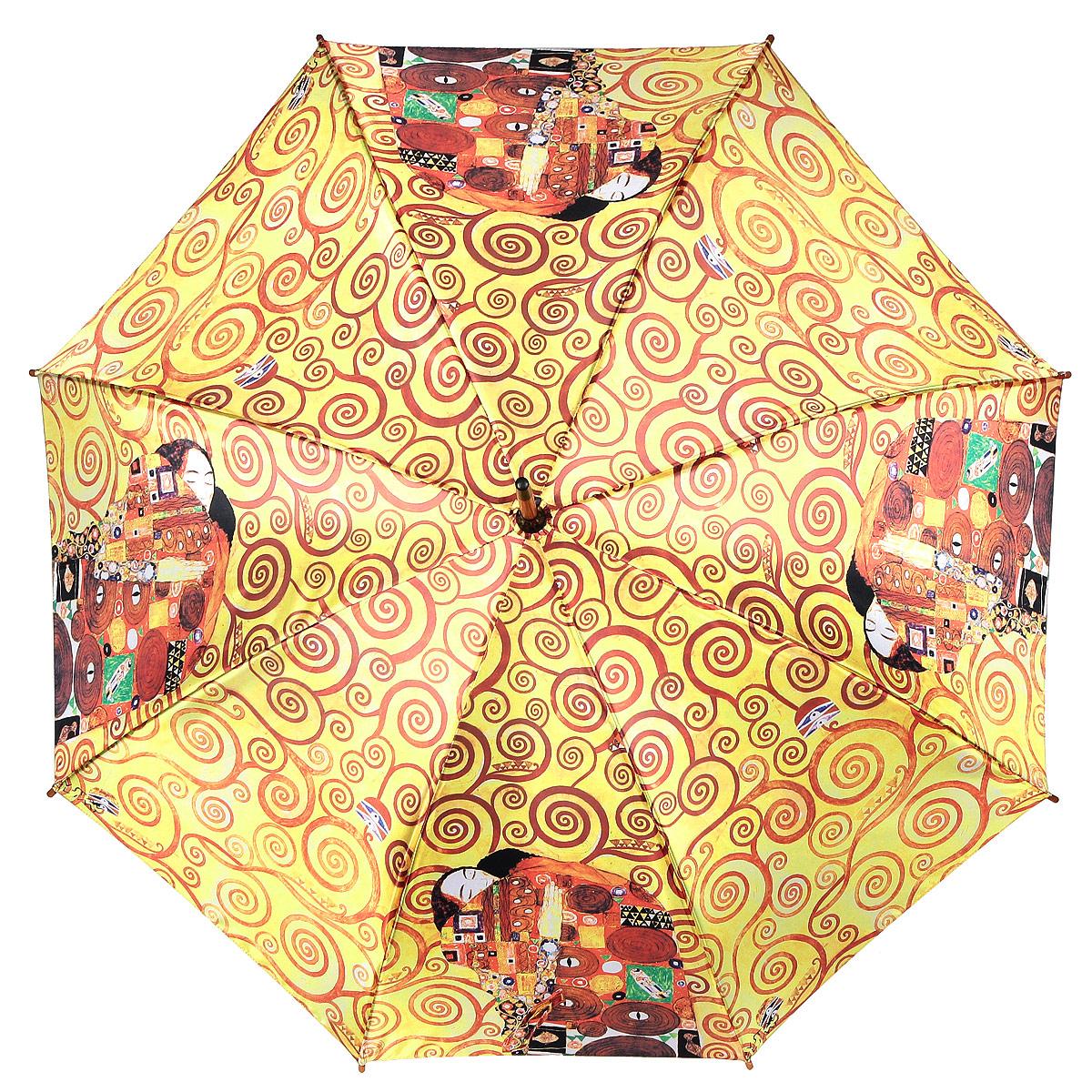 Зонт-трость Объятия, полуавтомат. 1001-251001-25Стильный полуавтоматический зонт-трость Объятия поднимет настроение даже в ненастную погоду. Каркас зонта состоит из деревянного стержня и 8 металлических спиц черного цвета. Купол зонта, изготовленный из сатина с водоотталкивающей пропиткой, оформлен красочным изображением по мотивам картины Густава Климта Объятия. Зонт оснащен удобной закругленной рукояткой. Кончики спиц защищены деревянными насадками. Зонт имеет полуавтоматический механизм сложения: купол открывается нажатием кнопки на рукоятке, а закрывается вручную до характерного щелчка. Такой зонт не только надежно защитит вас от дождя, но и станет стильным аксессуаром.