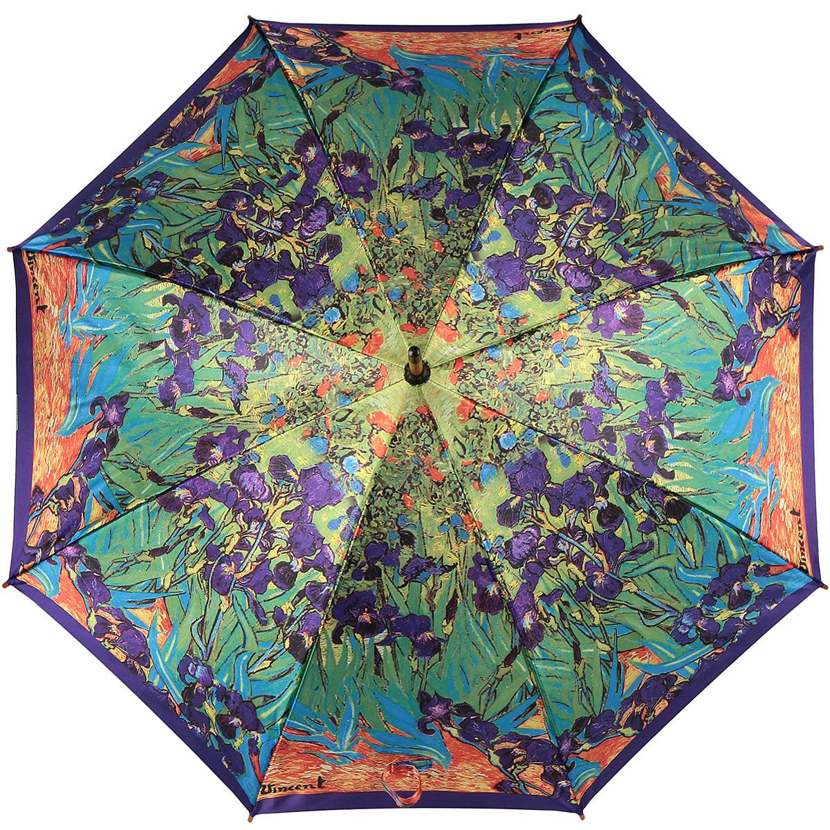 Зонт-трость Цветущие ирисы, полуавтомат. 1001-271001-27Стильный полуавтоматический зонт-трость Цветущие ирисы поднимет настроение даже в ненастную погоду. Каркас зонта состоит из деревянного стержня и 8 металлических спиц черного цвета. Купол зонта, изготовленный из сатина с водоотталкивающей пропиткой, оформлен красочным изображением по мотивам картины Винсента Ван Гога Цветущие ирисы. Зонт оснащен удобной закругленной рукояткой. Кончики спиц защищены деревянными насадками. Зонт имеет полуавтоматический механизм сложения: купол открывается нажатием кнопки на рукоятке, а закрывается вручную до характерного щелчка. Такой зонт не только надежно защитит вас от дождя, но и станет стильным аксессуаром.
