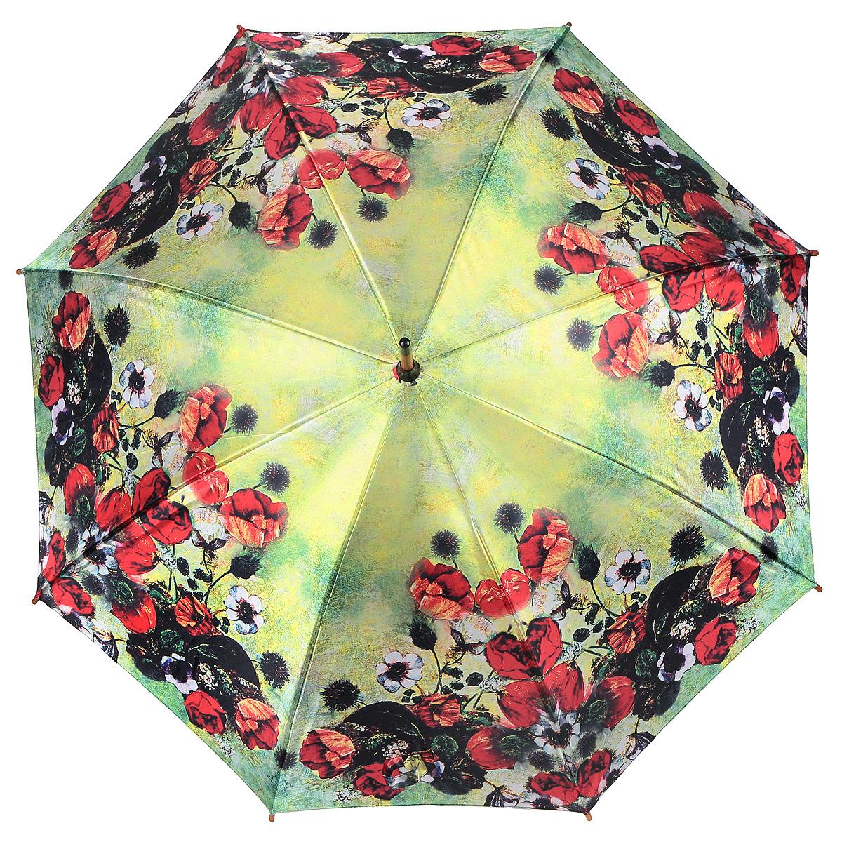 Зонт-трость Цветы, полуавтомат. 1001-281001-28Стильный полуавтоматический зонт-трость Цветы поднимет настроение даже в ненастную погоду. Каркас зонта состоит из деревянного стержня и 8 металлических спиц черного цвета. Купол зонта, изготовленный из сатина с водоотталкивающей пропиткой, оформлен красочным изображением цветов. Зонт оснащен удобной закругленной рукояткой. Кончики спиц защищены деревянными насадками. Зонт имеет полуавтоматический механизм сложения: купол открывается нажатием кнопки на рукоятке, а закрывается вручную до характерного щелчка. Такой зонт не только надежно защитит вас от дождя, но и станет стильным аксессуаром.