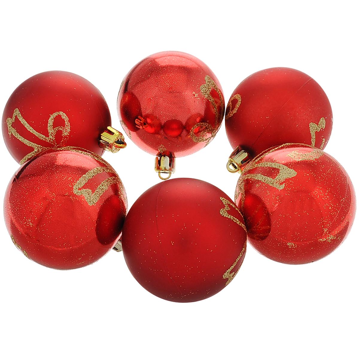 Набор новогодних подвесных украшений Шар, цвет: красный, золотистый, диаметр 6 см, 6 шт. 3551135511Набор новогодних подвесных украшений Шар прекрасно подойдет для праздничного декора новогодней ели. Состоит из шести шаров. Елочная игрушка - символ Нового года. Она несет в себе волшебство и красоту праздника. Создайте в своем доме атмосферу веселья и радости, украшая новогоднюю елку нарядными игрушками, которые будут из года в год накапливать теплоту воспоминаний. Коллекция декоративных украшений принесет в ваш дом ни с чем несравнимое ощущение волшебства! Откройте для себя удивительный мир сказок и грез. Почувствуйте волшебные минуты ожидания праздника, создайте новогоднее настроение вашим дорогим и близким.