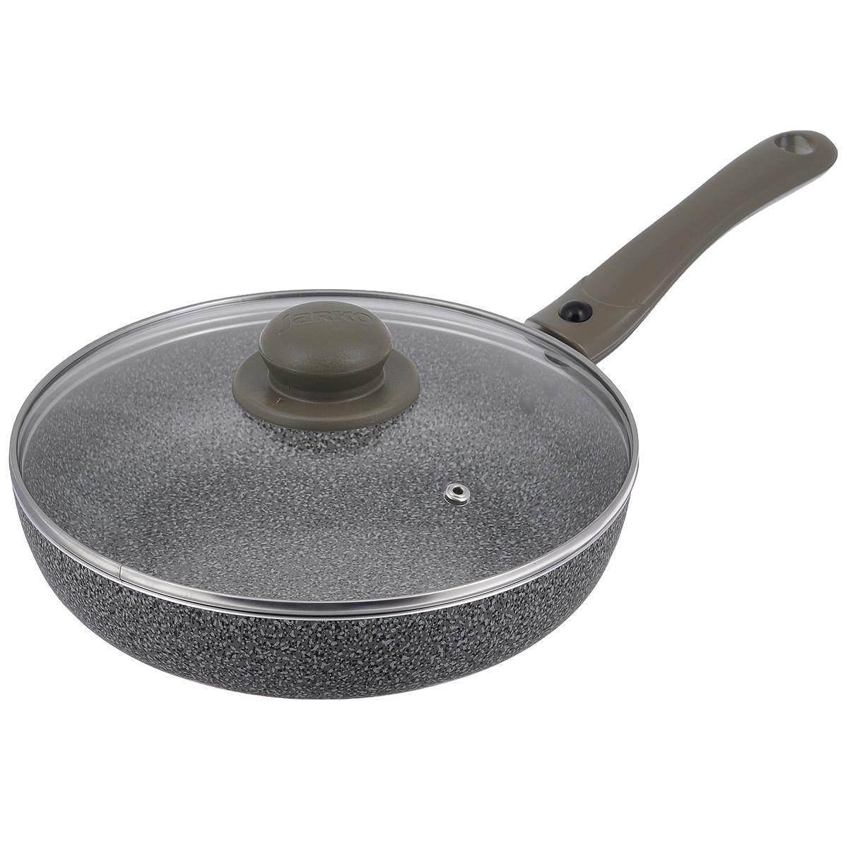 Сковорода Jarko Onyx с крышкой, с антипригарным покрытием, со съемной ручкой, цвет: серый. Диаметр 24 смJO-124-21