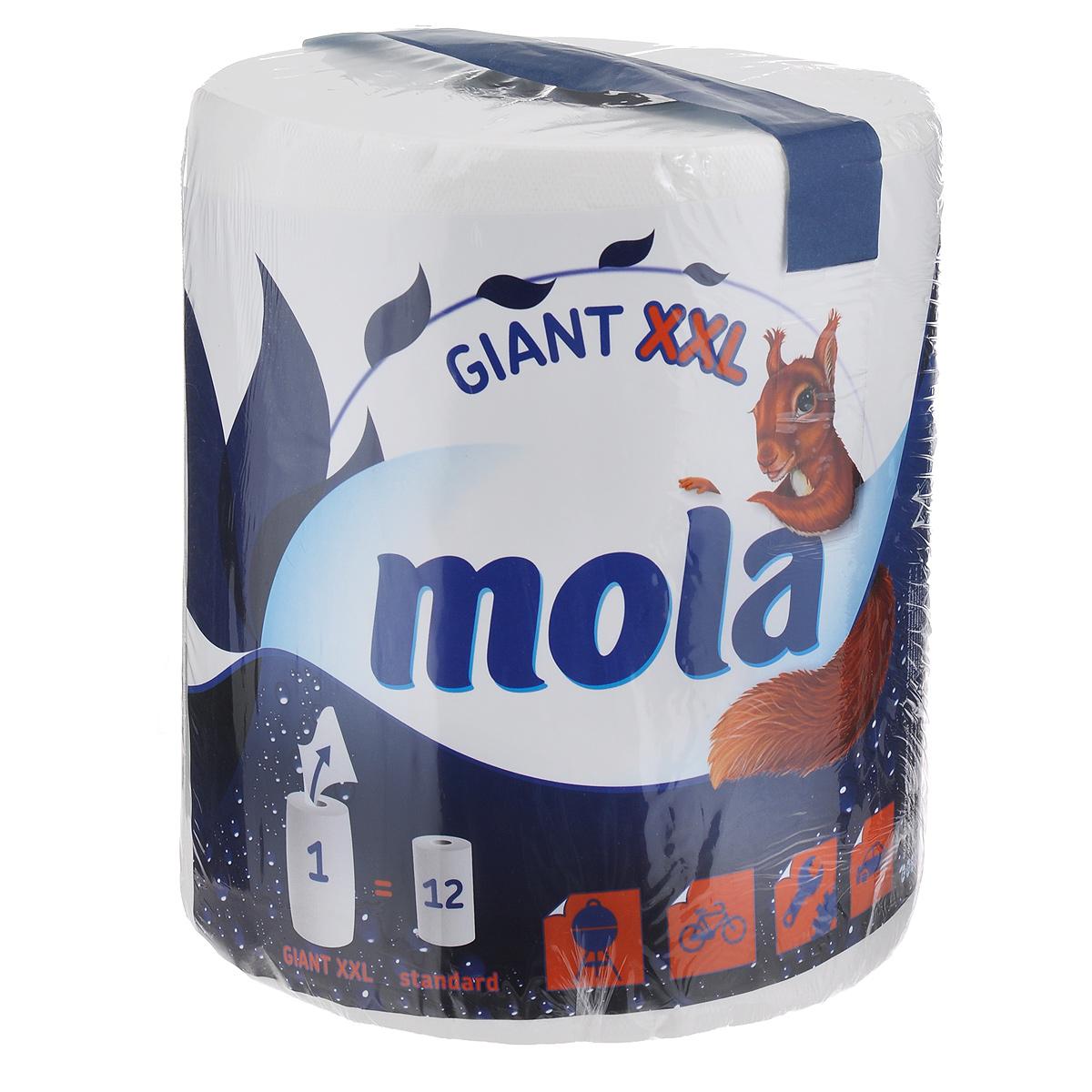 Полотенца бумажные Mola Giant, двухслойные, цвет: белый, 1 рулон2775Двухслойные бумажные полотенца Mola, выполненные из 100% целлюлозы, подарят превосходный комфорт и ощущение чистоты и свежести. Бумажные полотенца Mola - это незаменимый атрибут чистой кухни. Они просты в использовании, их не надо стирать и просто утилизировать. Специальное тиснение улучшает способность материала впитывать влагу, что позволяет полотенцам еще лучше справляться со своей работой. Натуральные материалы, используемые при изготовлении продукции Mola, безопасны для людей, животных и окружающей среды, не вызывают раздражения и аллергии и не оставляют мелкой бумажной пыли. Классические бумажные полотенца Mola могут использоваться не только на кухне, но и для других целей, поскольку отлично вытирают руки и убирают грязь с самых разных поверхностей. Стол, пол, подоконник - все будет чистым и свежим, а полотенце просто отправится в ведро. Большой упаковки полотенец хватит надолго. Один рулон Mola Giant включает в себя 12 стандартных...
