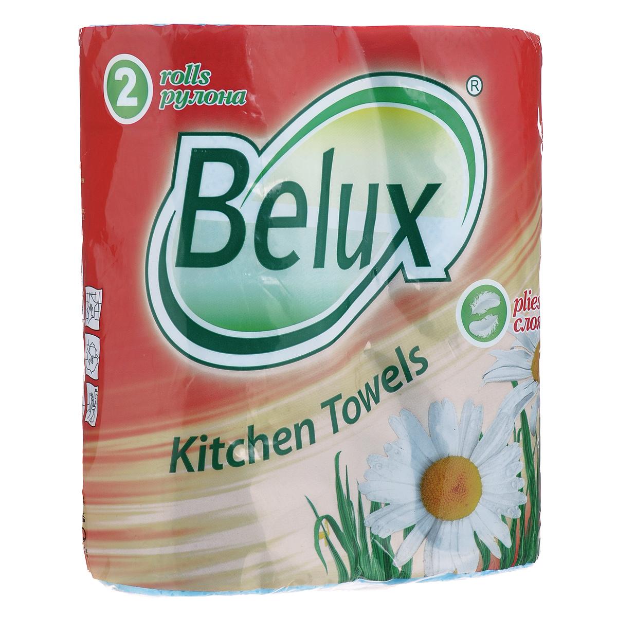 Полотенца кухонные бумажные Belux, двухслойные, цвет: голубой, 2 рулона36299Кухонные бумажные полотенца Belux прекрасно подойдут для использования на кухне. В комплекте - 2 рулона двухслойных полотенец с тиснением. Особенности полотенец: - не оставляют разводов на гладких и стеклянных поверхностях, - идеально впитывают влагу, - отлично впитывают жир, - подходят для ухода за домашними животными, бытовой техникой, автомобилем. Полотенца мягкие, но в тоже время прочные, с отрывом по линии перфорации.