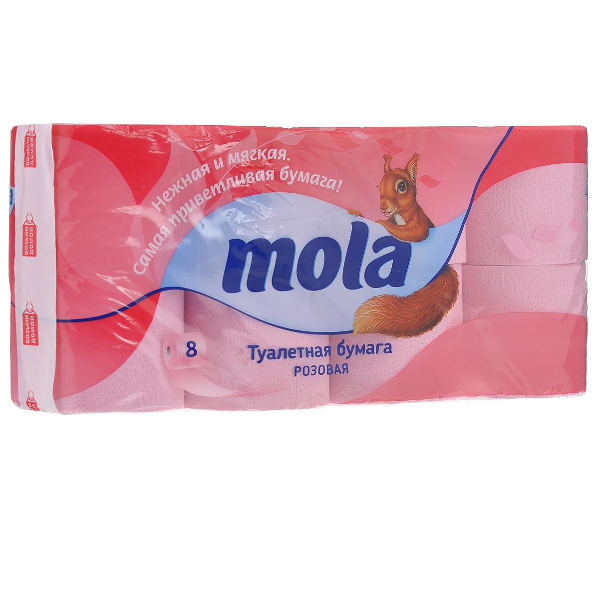 Туалетная бумага Mola, двухслойная, цвет: розовый, 8 рулонов2176Двухслойная туалетная бумага Mola изготовлена из целлюлозы высшего качества. Листы имеют рисунок с тиснением. Мягкая, нежная, но в тоже время прочная, бумага не расслаивается и отрывается строго по линии перфорации.