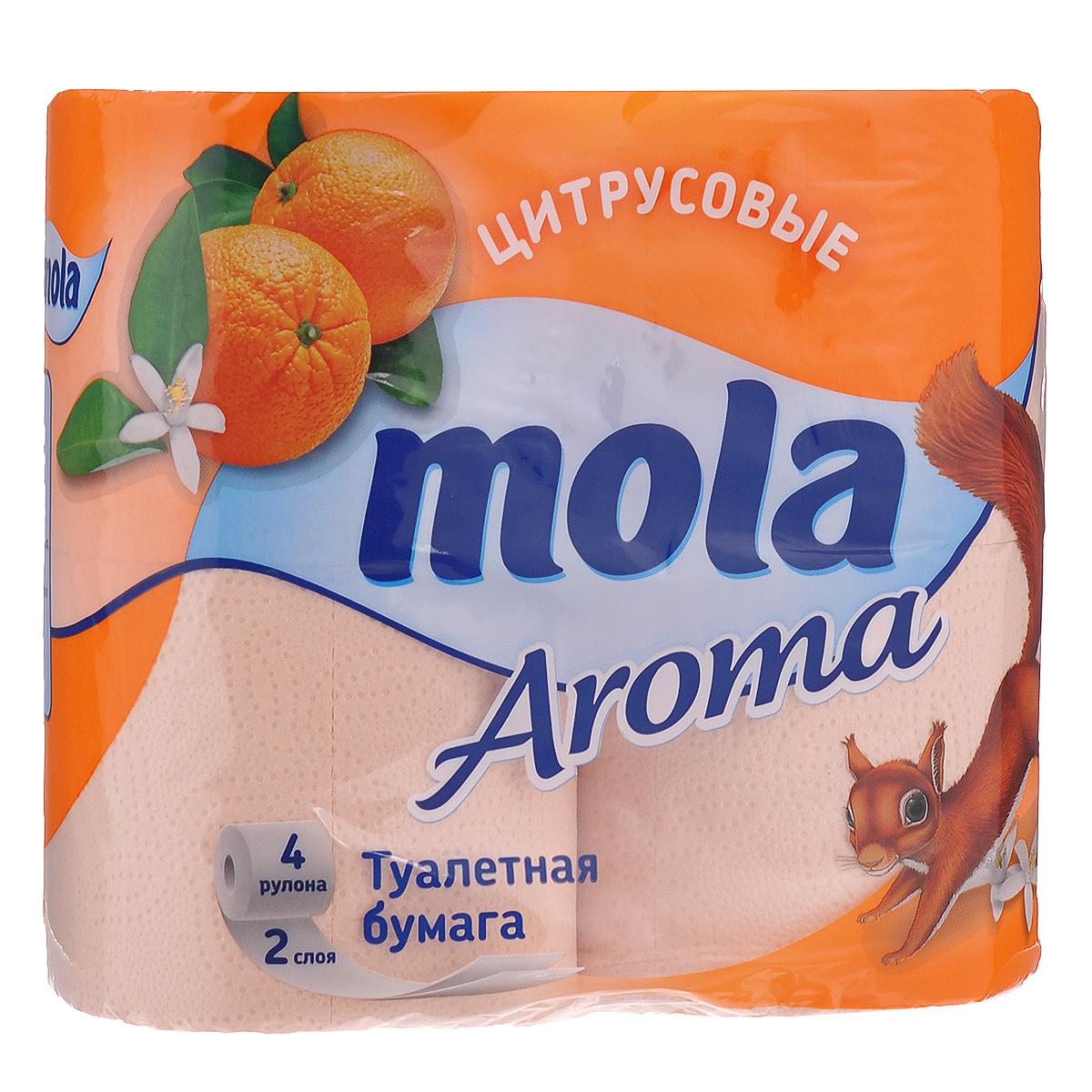 Туалетная бумага Mola Aroma Цитрус, двухслойная, цвет: оранжевый, 4 рулона. 26932693Двухслойная туалетная бумага Mola Aroma Цитрус имеет рисунок с тиснением и обладает приятным ароматом цитрусовых фруктов. Необыкновенно мягкая бумага изготовлена из экологически чистого, высококачественного сырья - 100% целлюлозы. Мягкая, нежная, но в тоже время прочная, бумага не расслаивается и отрывается строго по линии перфорации. Товар сертифицирован.
