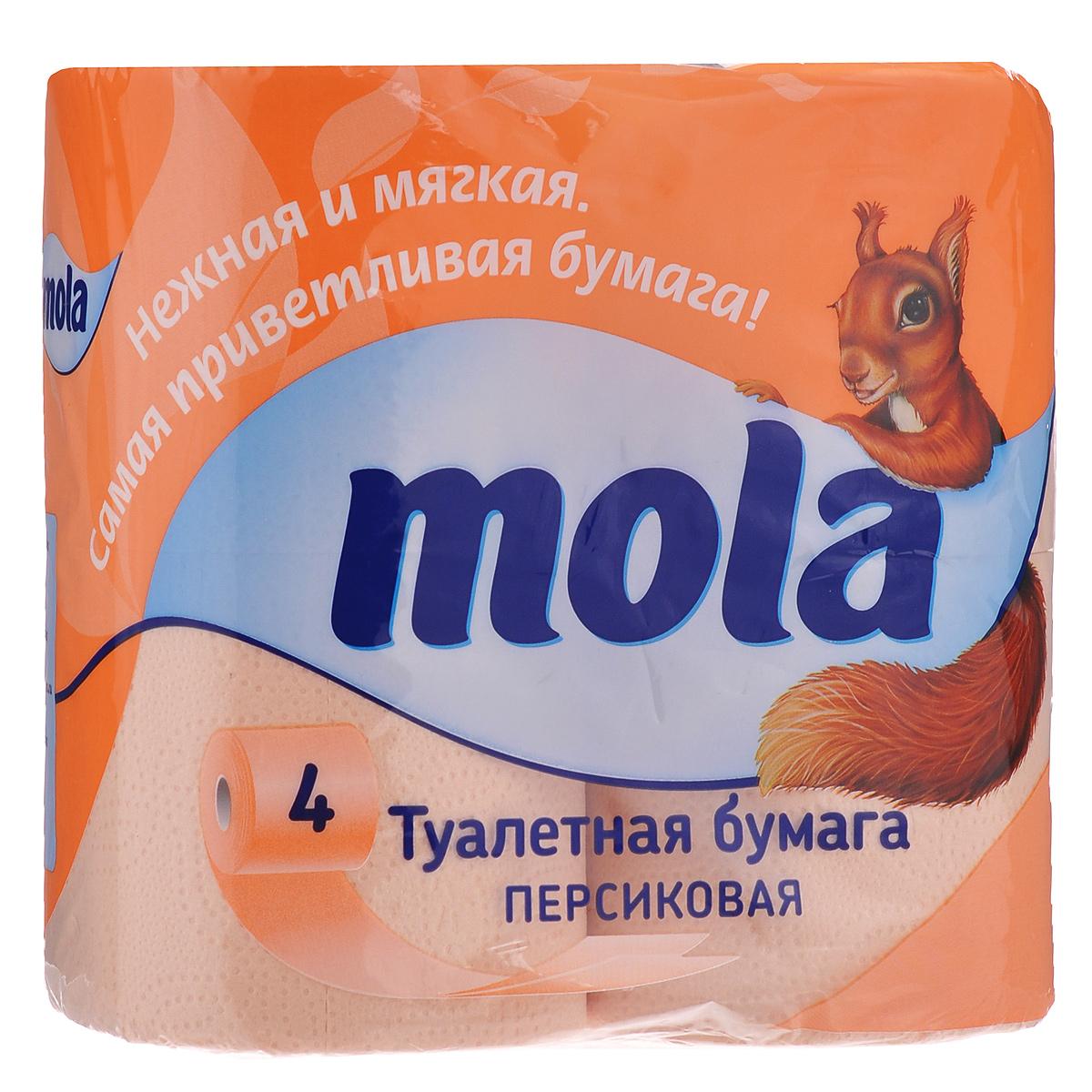 Туалетная бумага Mola, двухслойная, цвет: персиковый, 4 рулона. 21712171Двухслойная туалетная бумага Mola имеет рисунок с тиснением. Необыкновенно мягкая бумага изготовлена из экологически чистого, высококачественного сырья - 100% целлюлозы. Мягкая, нежная, но в тоже время прочная, бумага не расслаивается и отрывается строго по линии перфорации. Товар сертифицирован.