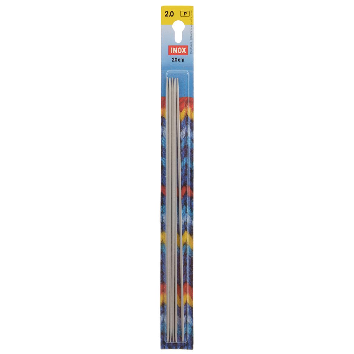 Спицы Inox, металлические, чулочно-носочные, цвет: жемчужно-серый, диаметр 2 мм, 5 шт191486Спицы Inox имеют жемчужно-серое покрытие, благодаря которому петли хорошо скользят по поверхности спиц. Спицы прочные, легкие, гладкие, удобные в использовании. Кончики спиц закругленные. Металлические спицы без ограничителей предназначены для вязания шапочек, варежек и носков. Вы сможете вязать для себя, делать подарки друзьям. Рукоделие всегда считалось изысканным, благородным делом. Работа, сделанная своими руками, долго будет радовать вас и ваших близких.