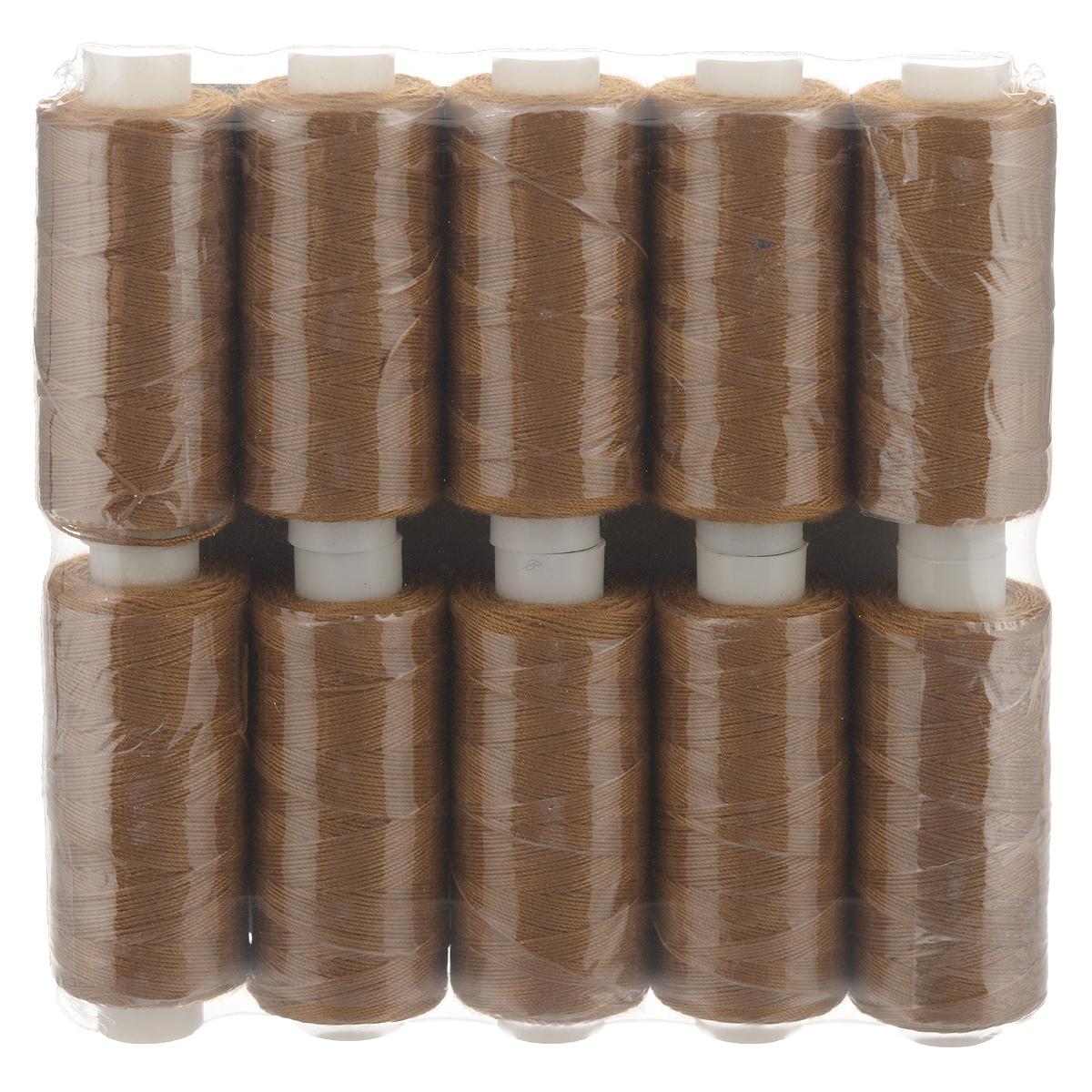 Набор ниток 20/3, цвет: коричневый, 120 м, 10 бобин. 675491675491Набор ниток состоит из 10 бобин с нитками коричневого цвета. Универсальная швейная нить изготовлена из 100% полиэстера. Рекомендуется для бытовых и швейных машин и рукоделия. Нить используется для швов повышенной прочности, декоративных швов, в пошиве сумок, спецодежды, галантереи и многого другого. Количество: 10 бобин.