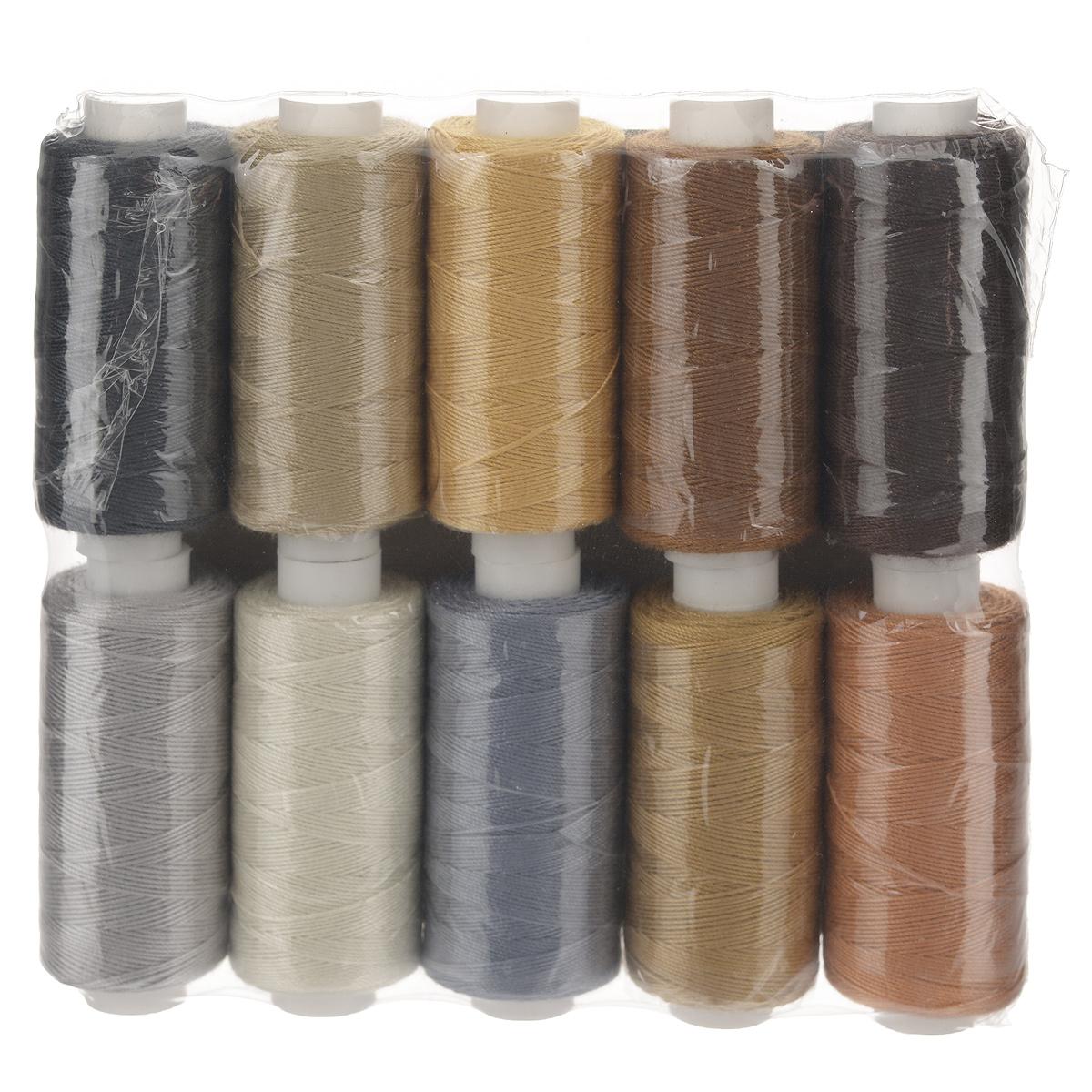 Набор ниток Ассорти 20/3, 120 м, 10 бобин. 675491_1675491_1Набор Ассорти 20/3 состоит из 10 бобин с нитками 10 цветов. Универсальная швейная нить изготовлена из 100% полиэстера и рекомендуется для бытовых и швейных машин, а также рукоделия. Нить используется для швов повышенной прочности, декоративных швов, в пошиве сумок, спецодежды, галантереи и многого другого.