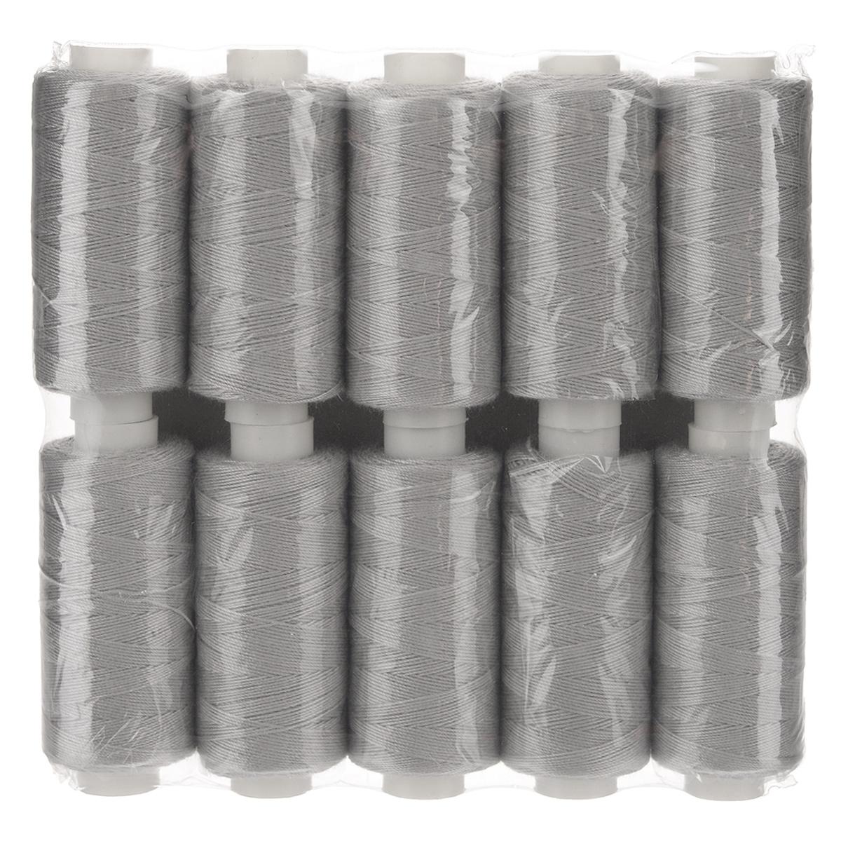 Набор ниток 20/3, цвет: серый, 120 м, 10 бобин. 675491_А726675491Набор ниток состоит из 10 бобин с нитками серого цвета. Универсальная швейная нить изготовлена из 100% полиэстера. Рекомендуется для бытовых и швейных машин и рукоделия. Нить используется для швов повышенной прочности, декоративных швов, в пошиве сумок, спецодежды, галантереи и многого другого.