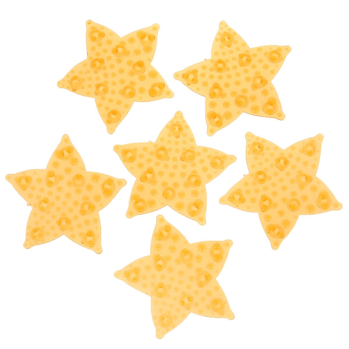 Набор мини-ковриков для ванной Dom Company Морская звезда перламутровая, цвет: оранжевый, 6 шт.837-022Набор Dom Company Морская звезда перламутровая состоит из шести мини-ковриков для ванной, изготовленных из 100% полимерных материалов в форме морских звезд. Коврики оснащены присосками, предотвращающими скольжение. Их можно крепить на дно ванны или использовать как декор для плитки. Коврики легко чистить.