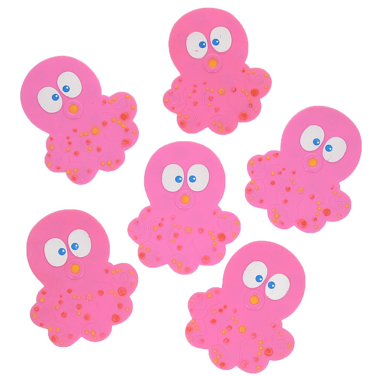 Набор мини-ковриков для ванной Dom Company Осьминог, цвет: розовый, 6 шт.837-024Набор Dom Company Осьминог состоит из шести мини-ковриков для ванной, изготовленных из 100% полимерных материалов в форме забавных осьминогов. Коврики оснащены присосками, предотвращающими скольжение. Их можно крепить на дно ванны или использовать как декор для плитки. Коврики легко чистить.