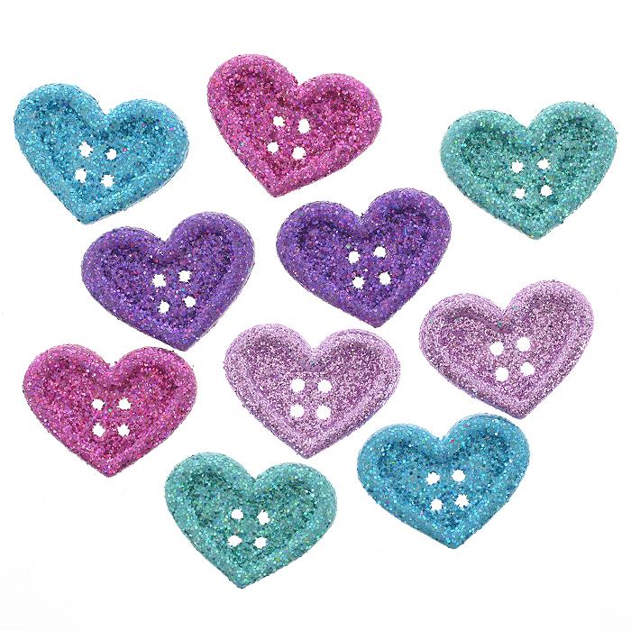 Пуговицы декоративные Dress It Up Большие сердца, 10 шт. 77023507702350Набор Dress It Up Большие сердца состоит из 10 декоративных пуговиц с блестками, выполненных из пластика в форме сердец. Такие пуговицы подходят для любых видов творчества: скрапбукинга, декорирования, шитья, изготовления кукол, а также для оформления одежды. С их помощью вы сможете украсить открытку, фотографию, альбом, подарок и другие предметы ручной работы. Пуговицы разных цветов, декорированные блестками, имеют оригинальный и яркий дизайн.