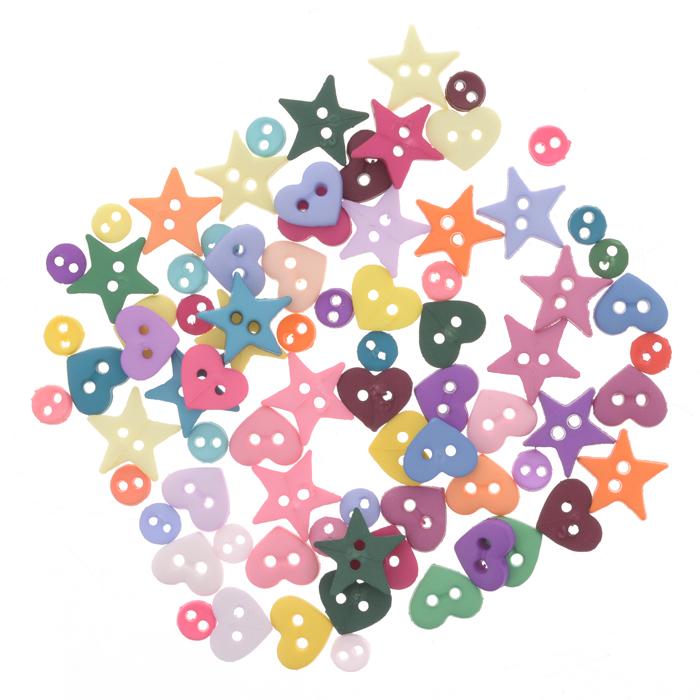 Пуговицы декоративные Dress It Up Много форм, 40 шт. 77024207702420Набор Dress It Up Много форм состоит из 40 декоративных пуговиц, выполненных из пластика в форме звезд, кругов и сердец. Такие пуговицы подходят для любых видов творчества: скрапбукинга, декорирования, шитья, изготовления кукол, а также для оформления одежды. С помощью них вы сможете украсить открытку, фотографию, альбом, подарок и другие предметы ручной работы. Пуговицы разных цветов имеют оригинальный и яркий дизайн.