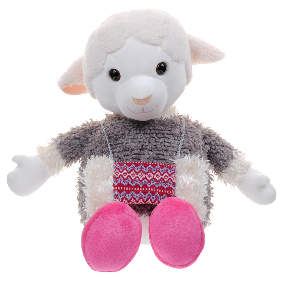 Мягкая игрушка Fancy Овечка Люси, 56 смOVYU2Очаровательная мягкая игрушка Fancy Овечка Люси, выполненная в виде улыбающейся овечки серого цвета с добрыми глазками, вызовет умиление и улыбку у каждого, кто ее увидит. У овечки есть муфта с красивым орнаментом. Она вешается на шею, ее можно снимать. Удивительно мягкая игрушка принесет радость и подарит своему обладателю мгновения нежных объятий и приятных воспоминаний. Великолепное качество исполнения делают эту игрушку чудесным подарком к любому празднику.