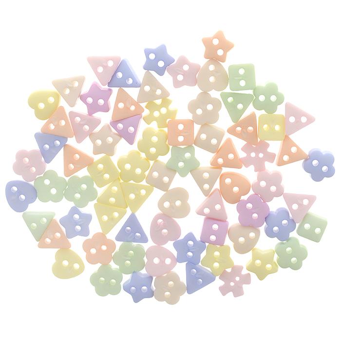Пуговицы декоративные Dress It Up Мягкие тона, 50 шт. 77023917702391Набор Dress It Up Мягкие тона состоит из 50 декоративных пуговиц, выполненных из пластика в виде звезд, цветов, квадратов, треугольников и сердец. Такие пуговицы подходят для любых видов творчества: скрапбукинга, декорирования, шитья, изготовления кукол, а также для оформления одежды. С помощью них вы сможете украсить открытку, фотографию, альбом, подарок и другие предметы ручной работы. Пуговицы разных цветов имеют оригинальный и яркий дизайн.