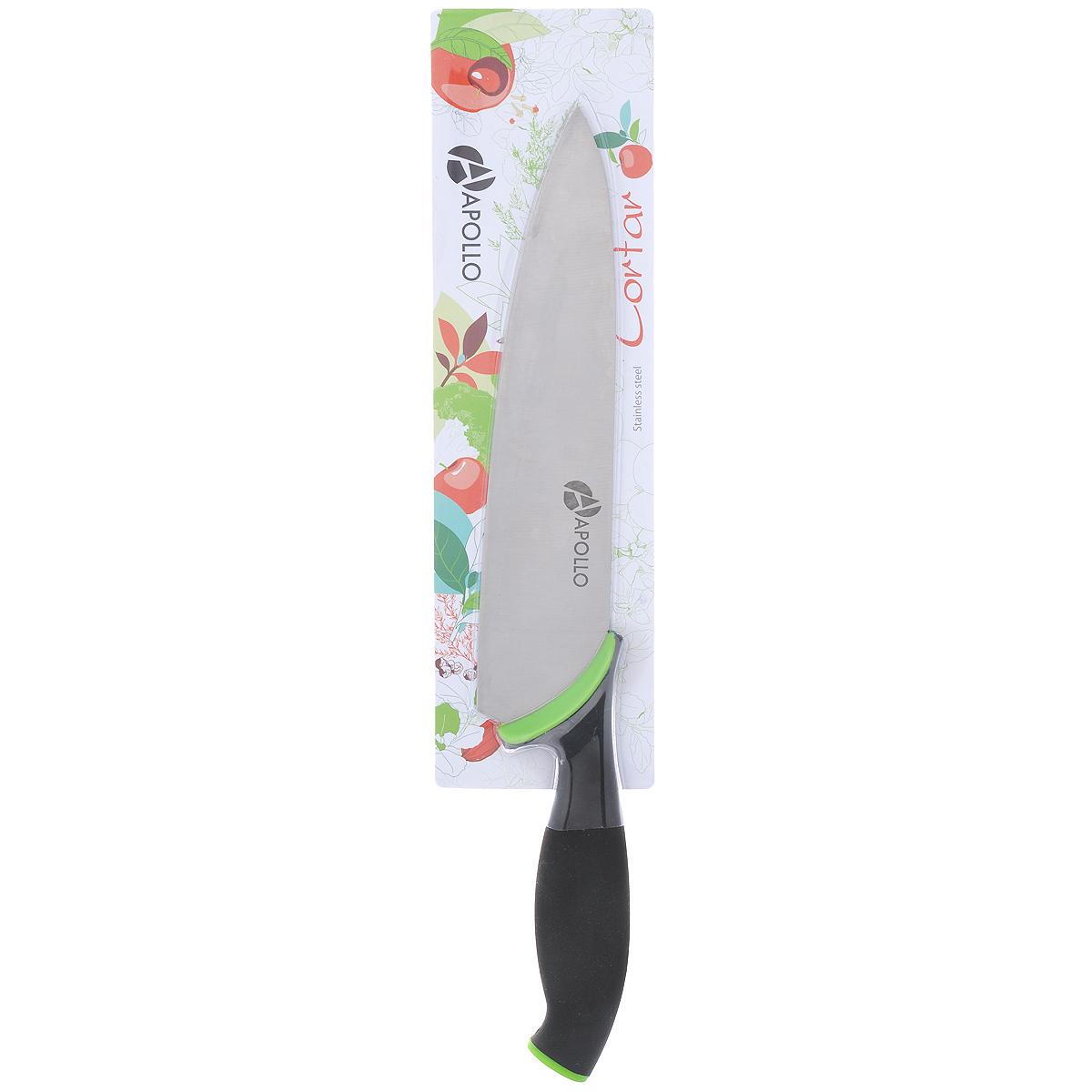 Нож кухонный Apollo Cortar, цвет: черный, зеленый, длина лезвия 20 см. COR-01_1COR-01_1Нож кухонный Apollo Cortar изготовлен из высококачественной нержавеющей стали с антибактериальным покрытием. Эргономичная рукоятка выполнена из высококачественного пищевого прорезиненного пластика. Рукоятка не скользит в руках и делает резку удобной и безопасной. Футляр выполнен из пищевого пластика. Этот нож идеально шинкует, нарезает и измельчает продукты. Его острие опущено вниз, центр тяжести смещен вперед, что позволяет прикладывать меньше усилий при работе ножом. Такой нож займет достойное место среди аксессуаров на вашей кухне. Заточка ножа Apollo Elsinorе производится так же, как и обычного кухонного ножа. Не рекомендуется мыть в посудомоечной машине. Общая длина ножа: 32 см. Длина лезвия: 20 см. Толщина лезвия: 2 мм.
