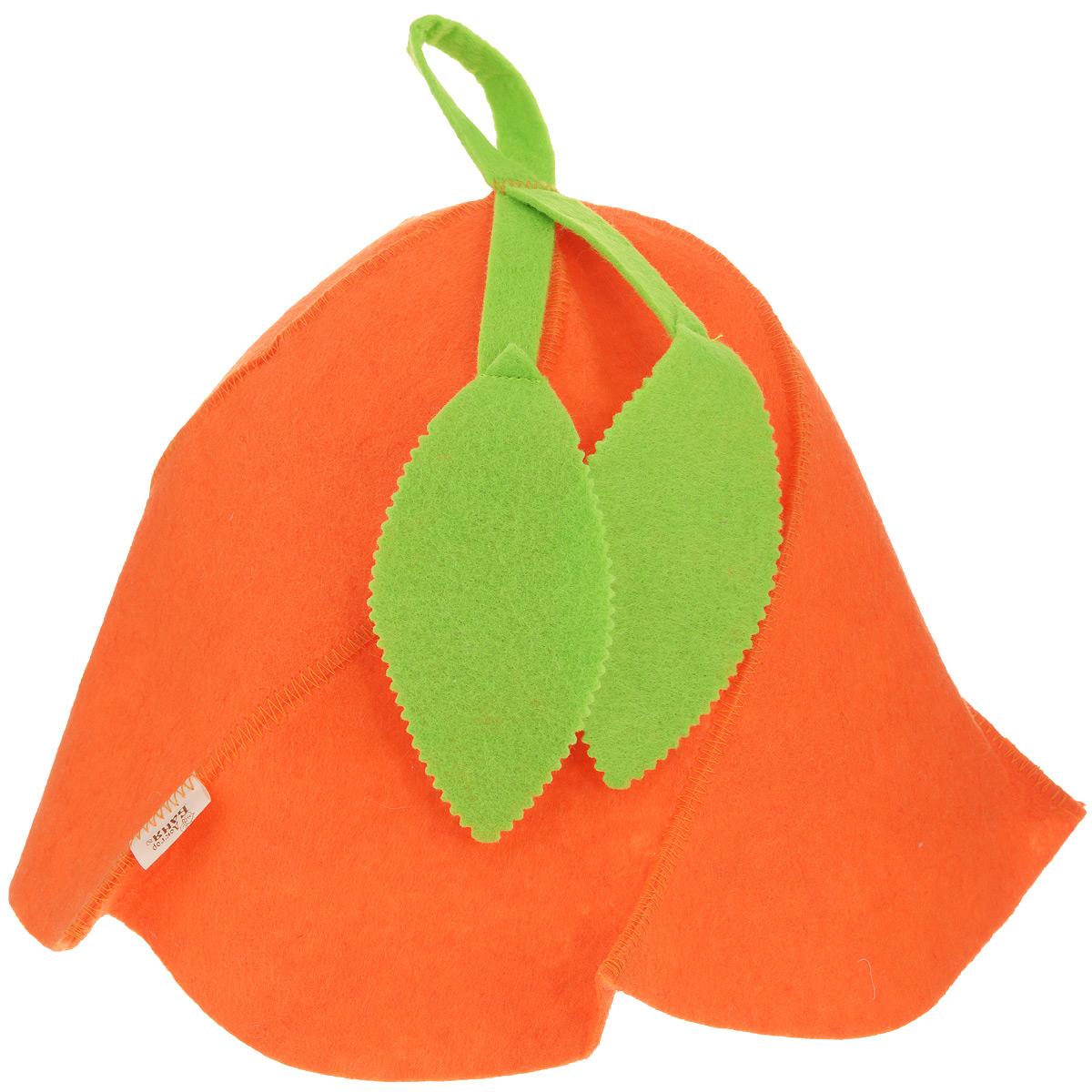Шапка для сауны Вьюнок, цвет: оранжевый, зеленый, 26 см х 31 см. 905245905245