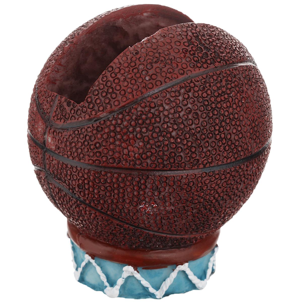 Подставка для мобильного телефона Феникс-презент, цвет: коричневый, голубой. 2893928939Оригинально оформленная подставка для мобильного телефона Феникс-презент, изготовленная из полирезины, станет отличным украшением интерьера и подчеркнет его изысканность. Подставка выполнена в виде баскетбольного мяча на подставке в форме корзины с сеткой. Подставку можно использовать как держатель для визиток, мобильного телефона, PSP, бумаги для заметок. Подставка для телефона Феникс-презент оригинально украсит ваш интерьер и обратит на себя внимание окружающих. Декоративную подставку также можно преподнести в качестве оригинального подарка или сувенира.
