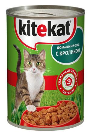 Консервы Kitekat Домашний обед для взрослых кошек, с кроликом, 410 г10180Консервы для взрослых кошек Kitekat - полнорационный сбалансированный корм для кошек, который идеально подойдет вашему любимцу. Аппетитные мясные кусочки в нежном соусе содержат все питательные вещества, витамины и минералы, необходимые для сбалансированного питания вашей кошки каждый день. В рацион домашнего любимца нужно обязательно включать консервированный корм, ведь его главные достоинства - высокая калорийность и питательная ценность. Консервы лучше усваиваются, чем сухие корма. Также важно, что животные, имеющие в рационе консервированный корм, получают больше влаги. Корм не содержит сои, консервантов, ароматизаторов, искусственных красителей, усилителей вкуса. Состав: мясо и субпродукты (в том числе кролик минимум 4%), злаки, растительное масло, таурин, витамины, минеральные вещества. Анализ: белки - 6,5 г, жиры - 3,5 г, клетчатка - 0,3 г, зола - 2,5 г, витамин А - не менее 70 МЕ мг, витамин Е - не менее 0,9 мг, влага - 84 г. Вес 410 г. ...