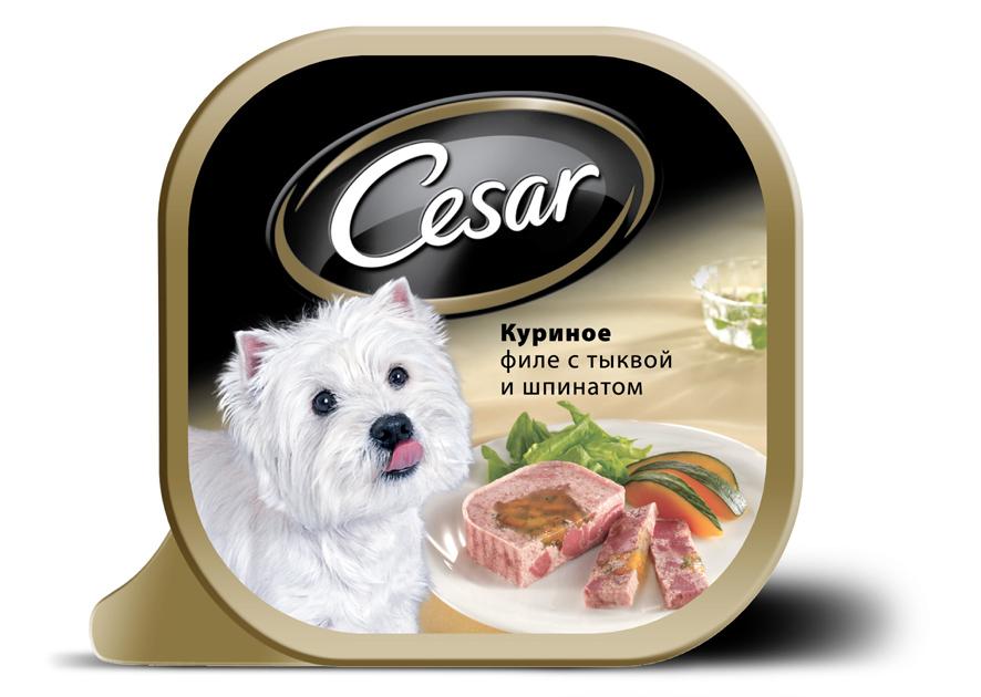 Консервы Cesar, для взрослых собак мелких пород, куриное филе с тыквой и шпинатом, 100 г10220Консервы Cesar - это полнорационный консервированный корм для взрослых собак мелких пород. Консервы представляют собой аппетитные кусочки мяса в подливе. Кроме того, в их состав входят овощи и ароматные травы, поэтому Cesar придется по душе даже самым привередливым собакам. Консервы приготовлены исключительно из натурального сырья. Не содержат искусственных красителей, консервантов и усилителей вкуса. Состав: курица (минимум 28%), говядина, ягненок, тыква (минимум 6,8%), растительное масло, шпинат, витамины и минеральные вещества. Пищевая ценность в 100 г: белки - 7,5 г, жир - 3,5 г, зола - 0,3 г, клетчатка - максимум 0,4 г, влага 85 г. Энергетическая ценность в 100 г: 70 ккал. Товар сертифицирован.