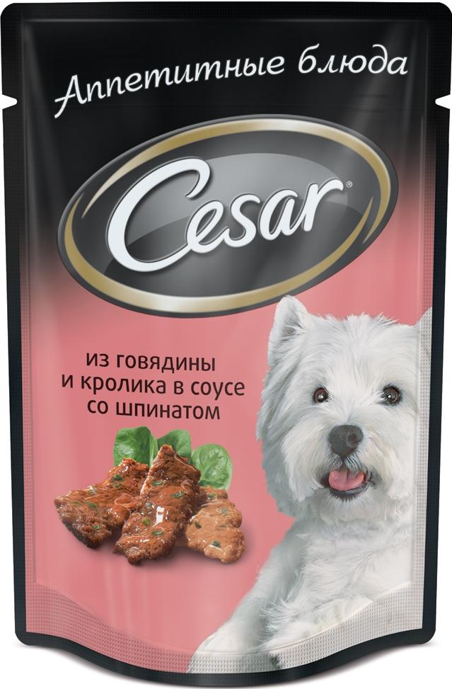 Консервы Cesar, для взрослых собак, с говядиной и кроликом в соусе под шпинатом, 100 г48814Консервы Cesar - это полнорационный консервированный корм для взрослых собак всех пород. Нежнейшие кусочки мяса, дополненные свежими овощами - идеальное блюдо для любой собаки. Консервы приготовлены исключительно из натурального сырья. Не содержат искусственных красителей, консервантов и усилителей вкуса. Состав: мясо и субпродукты минимум 40% (в том числе говядина минимум 20,5%, кролик минимум 5,5), шпинат (минимум 4%), злаки, клетчатка, витамины, минеральные вещества. Пищевая ценность в 100 г: белки - 9 г, жир - 4,5 г, зола - 2 г, клетчатка - 0,5 г, влага - 80 г, витамин А - не менее 150 МЕ, витамин Е - не менее 1,2 мг. Энергетическая ценность в 100 г: 85 ккал. Товар сертифицирован. Уважаемые клиенты! Обращаем ваше внимание на возможные изменения в дизайне упаковки. Качественные характеристики товара остаются неизменными. Поставка осуществляется в зависимости от наличия на складе.