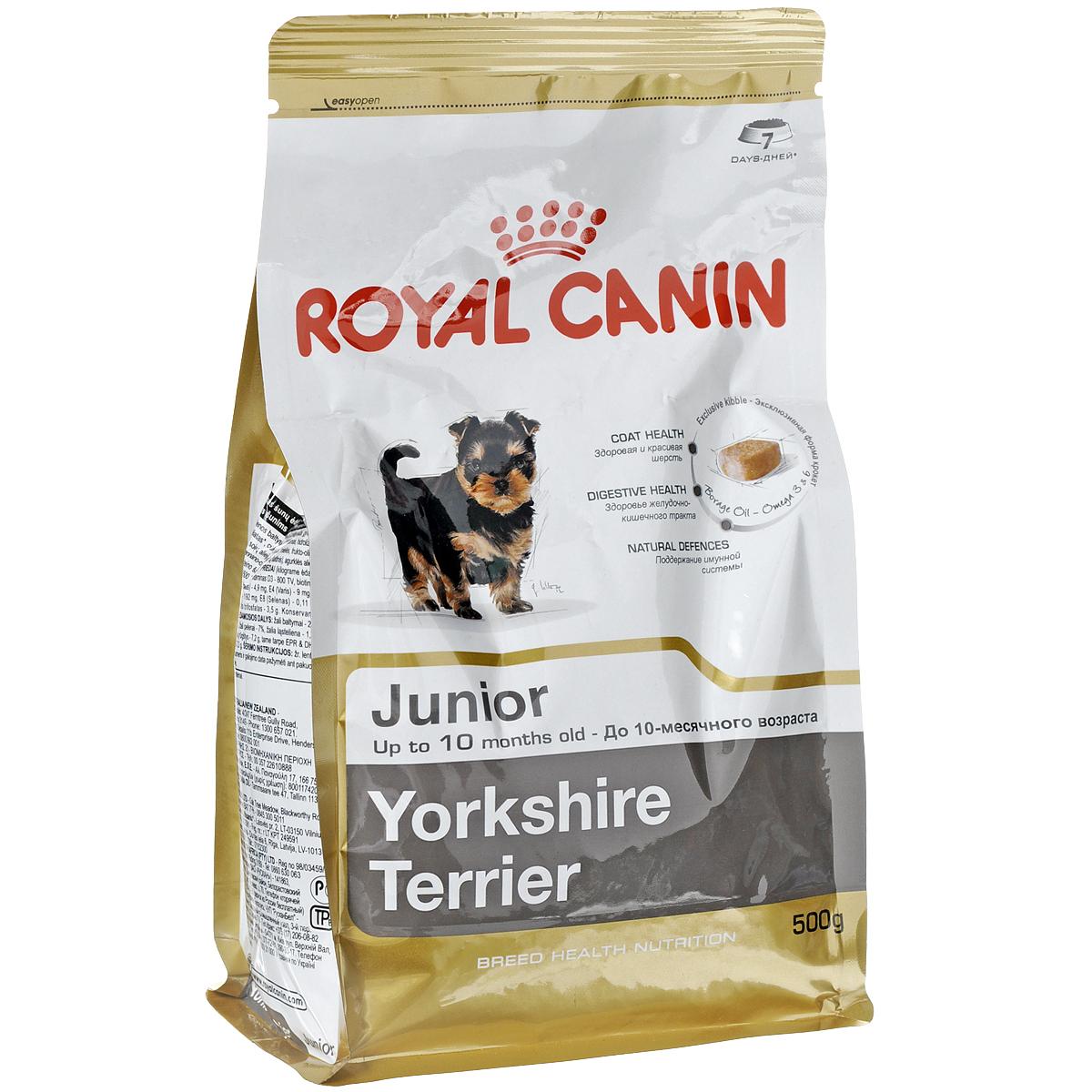 Корм сухой Royal Canin Yorkshire Terrier Junior, для щенков породы йоркширский терьер в возрасте до 10 месяцев, 500 г3464Сухой корм Royal Canin Yorkshire Terrier Junior - полнорационный корм для щенков породы йоркширский терьер в возрасте до 10 месяцев. Щенки йоркширского терьера подвержены риску многих заболеваний. Правильное питание и сбалансированная диета чаще всего помогают избежать неблагоприятного развития хрупкого в детстве щенка. Благодаря корму для щенков йорков Yorkshire Terrier Junior из небольшого и активного щенка вы легко вырастите аристократичного красивого взрослого пса. Здоровая шерсть. Эта эксклюзивная формула поддерживает здоровье и красоту шерсти йоркширского терьера. Корм обогащен жирными кислотами Омега-3 (EPA и DHA) и Омега-6, маслом бурачника и биотином. Безопасность пищеварения. Обеспечивает оптимальную безопасность пищеварения и поддерживает баланс кишечной флоры щенков йоркширского терьера. Надежная естественная защита. Корм позволяет обеспечить естественную защиту организма щенка йоркширского терьера. Профилактика образования зубного...