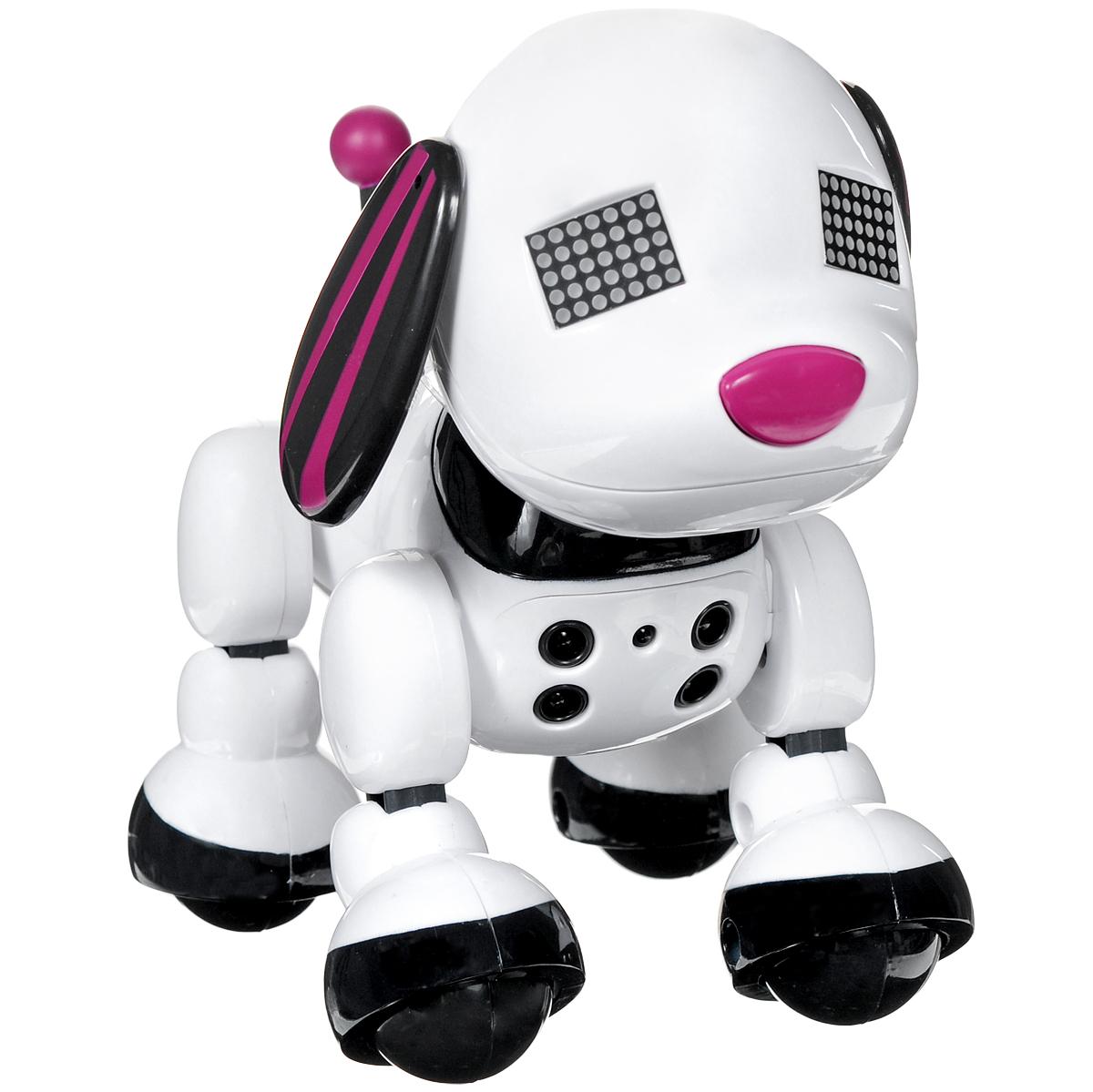 Zoomer Интерактивная игрушка Щенок Zuppies: Скарлет6022352_СКАРЛЕТИнтерактивная игрушка Zoomer Щенок Zuppies: Скарлет станет чудесным подарком для вашего ребенка! Она выполнена из прочного пластика в виде симпатичного улыбающегося щеночка Скарлет. Глазки игрушки представляют собой два пиксельных экранчика, отображающих режимы и эмоции. Игрушка предусматривает режимы Игра, Настроение и Действия, последний из которых включает следующие действия: Музыка, Больше-меньше, Быстрые руки, Режим охраны и мини-игру Разбей пиксели. Чтобы войти в меню действий, нужно нажать кнопку на спине щенка. При нажатии или трении сенсора на голове игрушка начнет лаять. Нажав и удерживая кнопку на спинке, можно узнать уровень счастья. Датчики на груди распознают движение руки на расстоянии от 5 до 25,4 см перед собой. Для смены звукового сопровождения передвигай руку по направлению к и от датчиков. В комплект со щенком входят 12 наклеек для украшения игрушки и иллюстрированная инструкция на русском языке. Для работы игрушки...