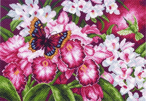 Канва с рисунком для вышивания Бабочка в орхидеях, 37 см х 49 см. 1138549857, 549857