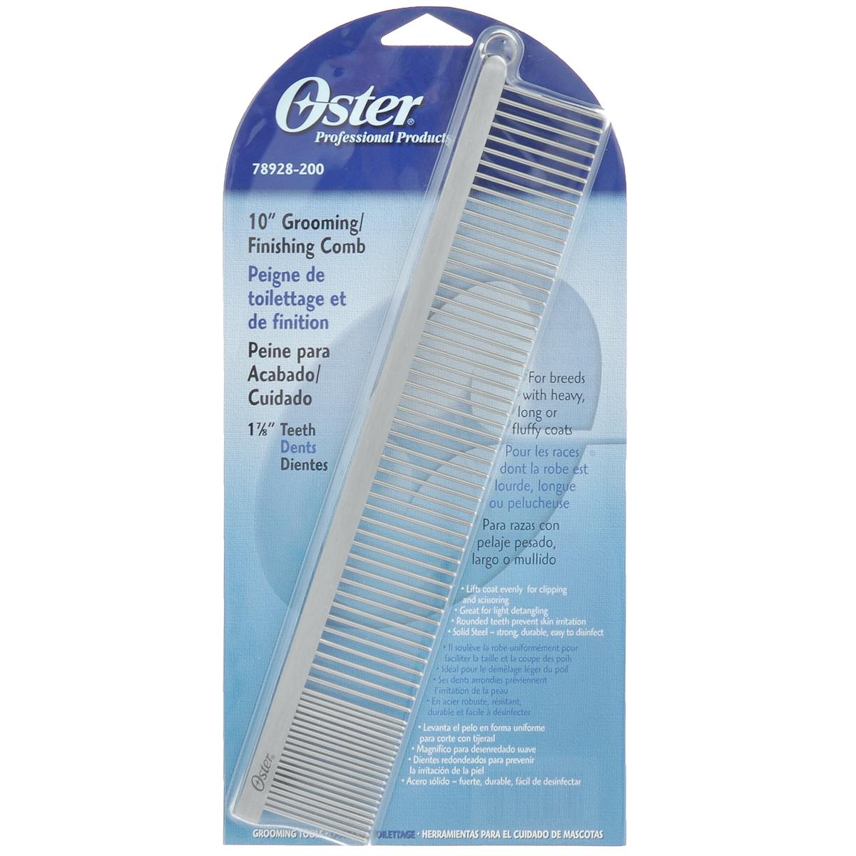 Расческа для животных Oster, длина 25 см078928-200Расческа для животных Oster - это большая металлическая комбинированная расческа с закругленными зубьями. Расческа имеет две частоты зубьев. Гребень предназначен для пород с тяжелой, длинной и пушистой шерстью. Равномерно удаляет отмершие и спутанные волосы, подготавливая шерсть для возможной стрижки. Закругленные зубцы препятствуют повреждению волоса при расчесывании и раздражению кожи. Твердая сталь - крепкая, долговечная и легкая в использовании. Длина зубьев: 3,5 см. Длина расчески: 25 см.