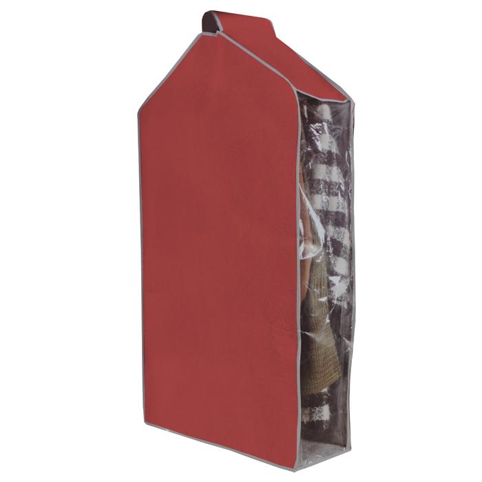 Чехол для одежды Hausmann, подвесной, цвет: вишневый, 57 х 100 х 20 см4C-302Чехол для одежды Hausmann изготовлен из вискозы и оснащен застежкой-молнией. Особое строение полотна создает естественную вентиляцию: материал дышит и позволяет воздуху свободно проникать внутрь чехла, не пропуская пыль. Прозрачная полиэтиленовая вставка сбоку позволит вам видеть одежду, находящуюся в чехле. Верх чехла оснащен петелькой на липучке для подвешивания. Чехол для одежды будет очень полезен при транспортировке вещей на близкие и дальние расстояния, при длительном хранении сезонной одежды, а также при ежедневном хранении вещей из деликатных тканей. Чехол для одежды Hausmann защитит ваши вещи от повреждений, пыли, моли, влаги и загрязнений.